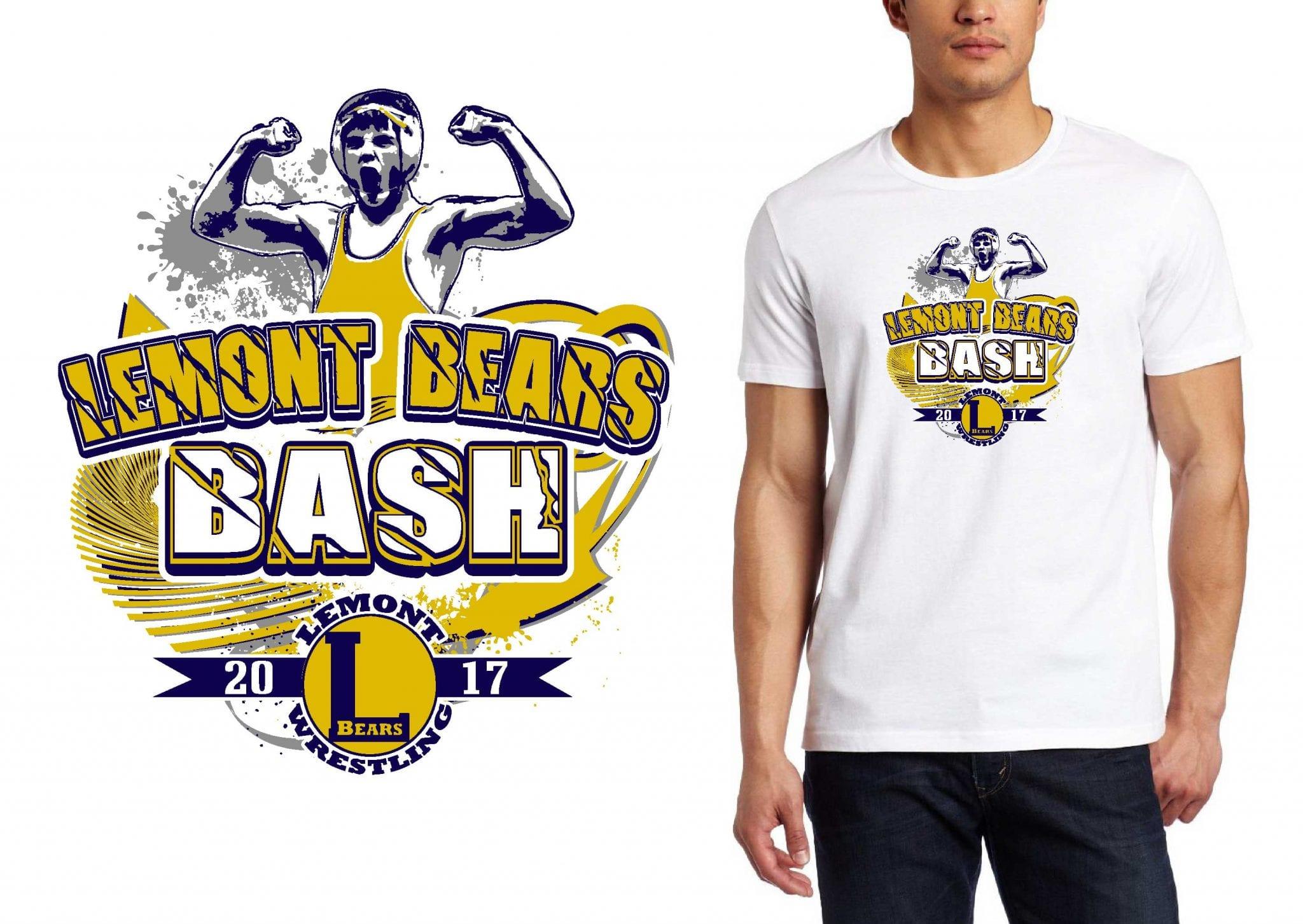 2017 LEMONT BEARS BASH vector logo design for wrestling t-shirt UrArtStudio