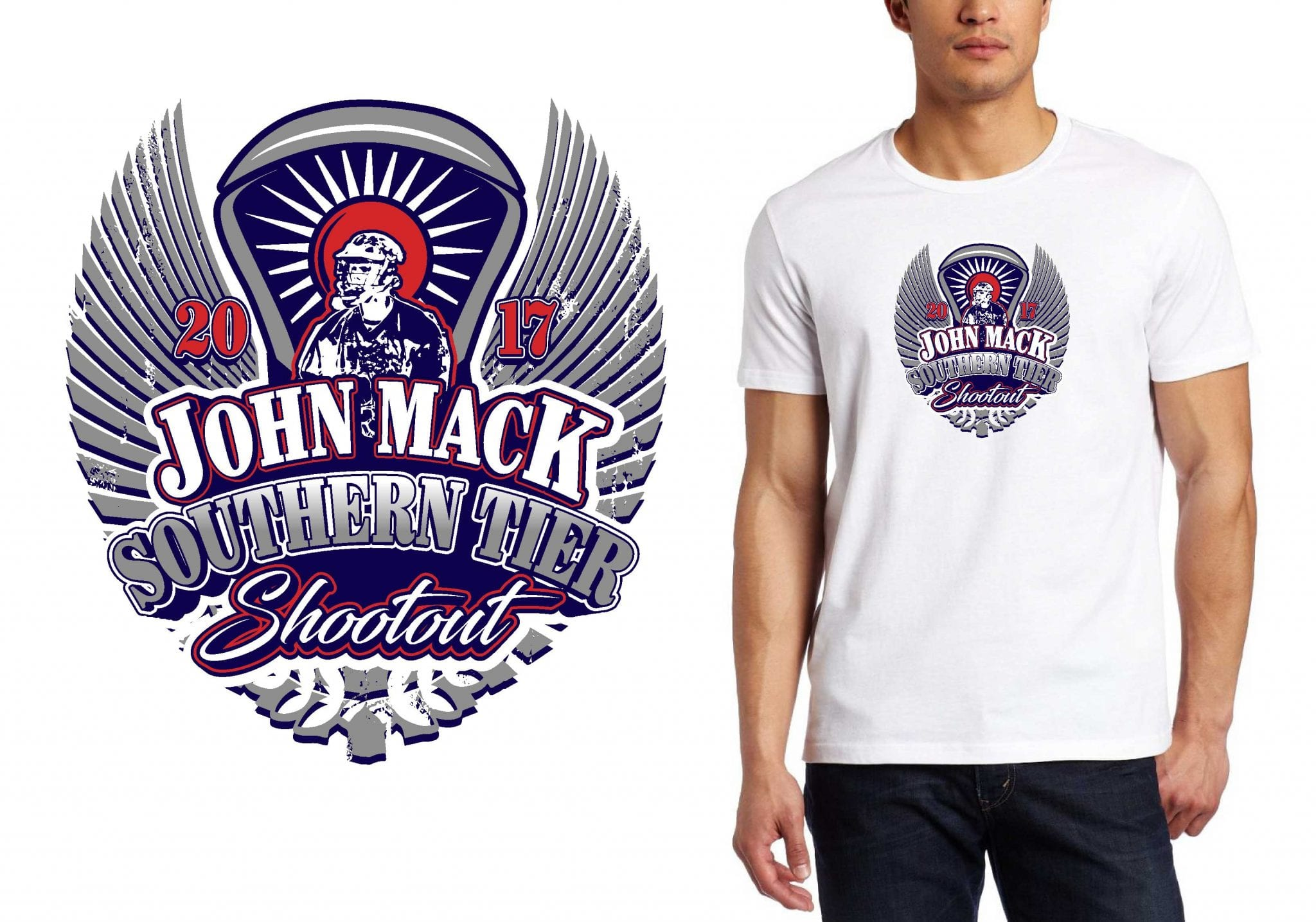 2017 John Mack Southern Tier Shootout vector logo design for lacrosse t-shirt UrArtStudio
