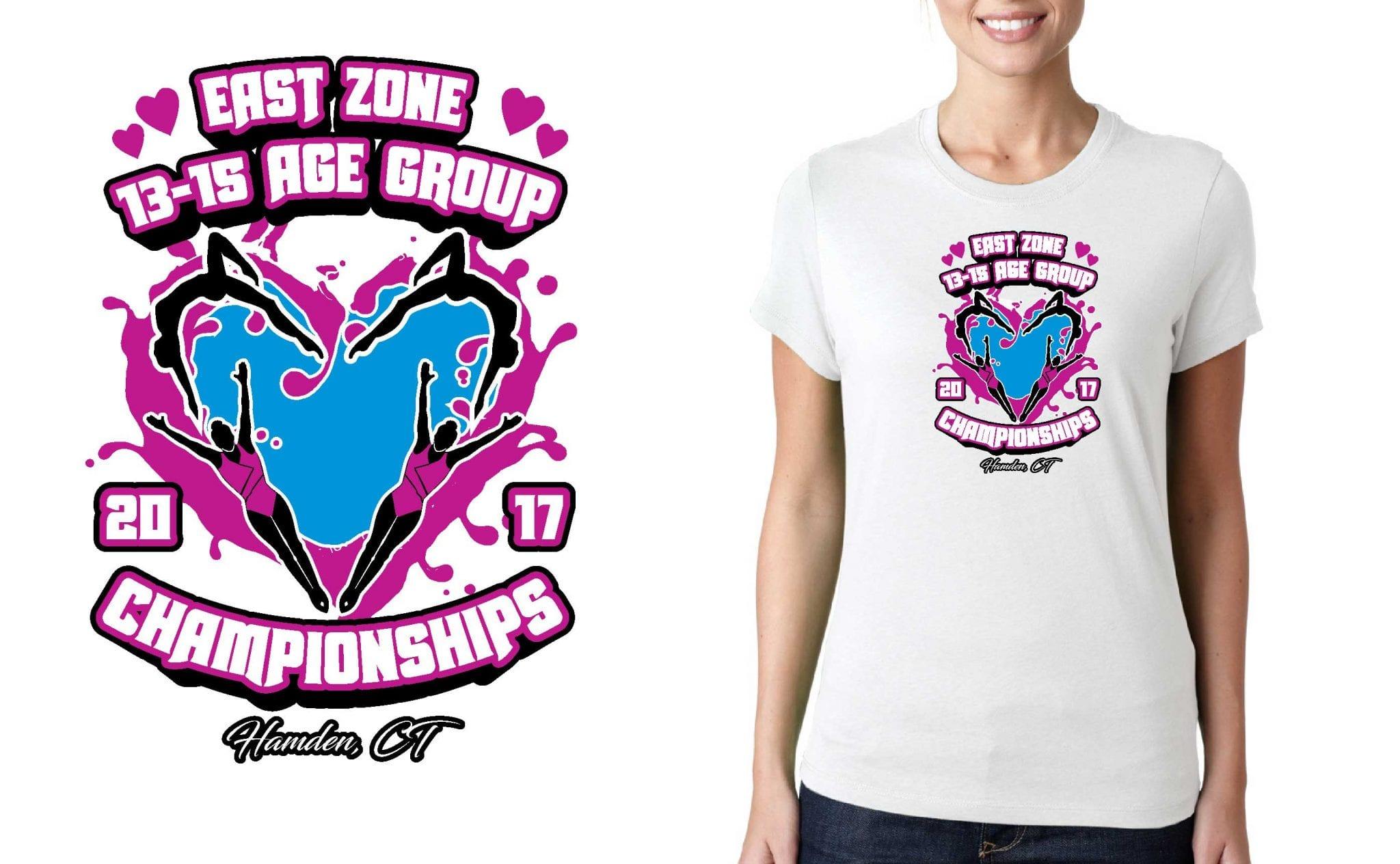 SWIMMING LOGO for East-Zone-13-15-Age-Group-Championships T-SHIRT UrArtStudio