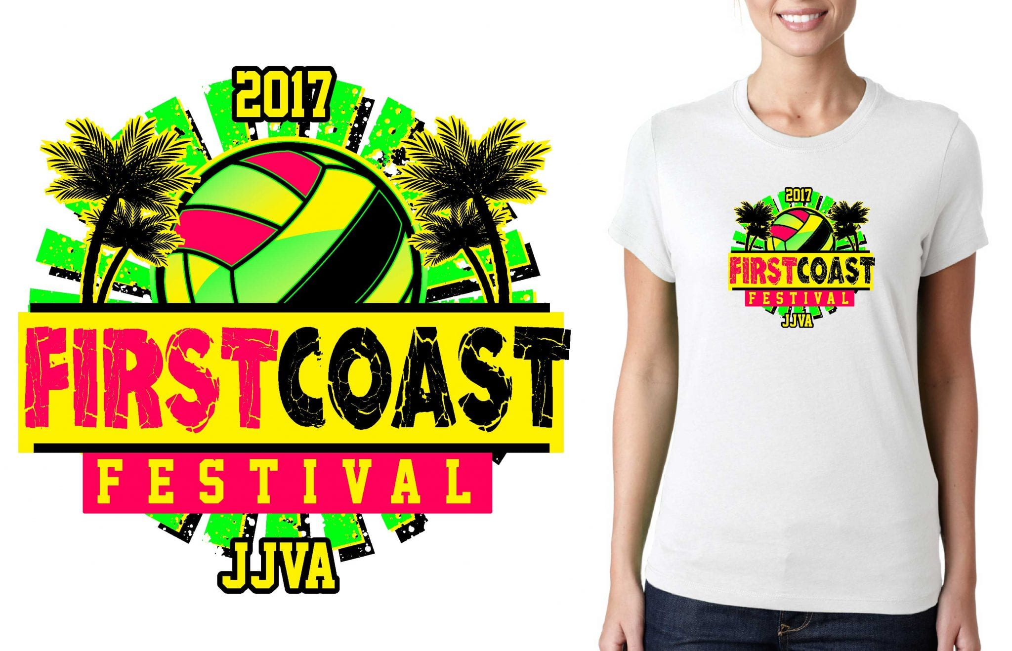 2017 First Coast Festival vector logo design for t-shirt volleyball urartstudio.com