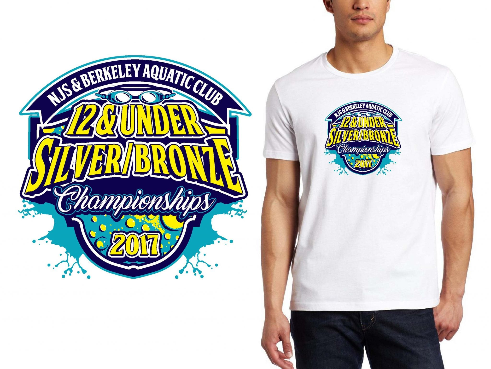 SWIMMING LOGO for NJS-Berkeley-Aquatic-Club-12-Under-Silver-Bronze-Championships T-SHIRT UrArtStudio