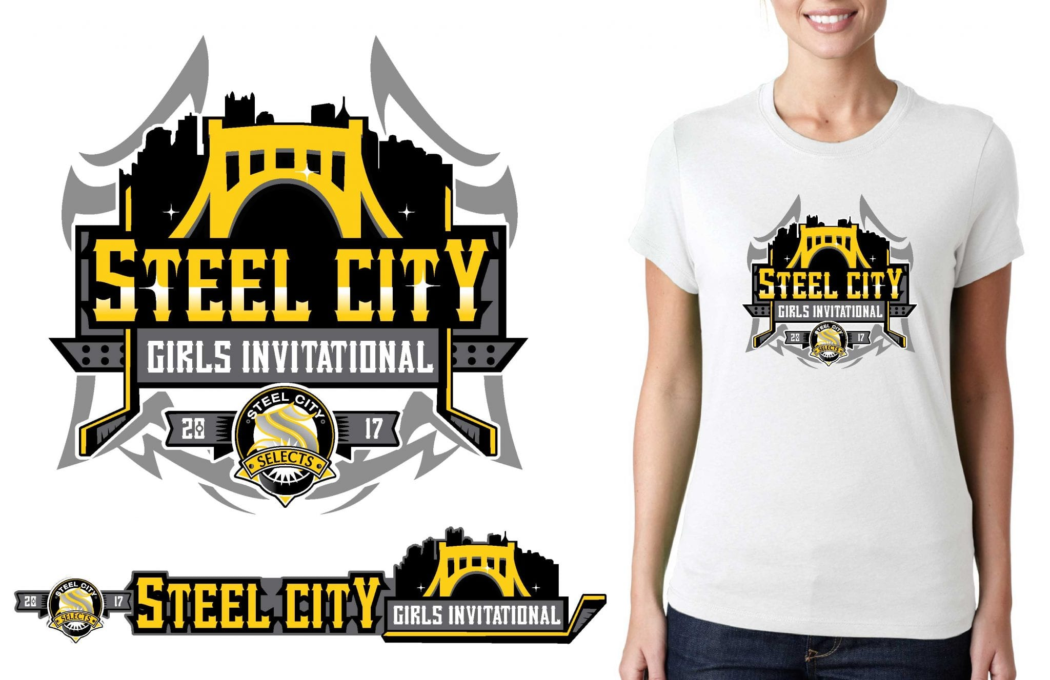 HOCKEY LOGO for Steel City Girls Invitational T-SHIRT UrArtStudio