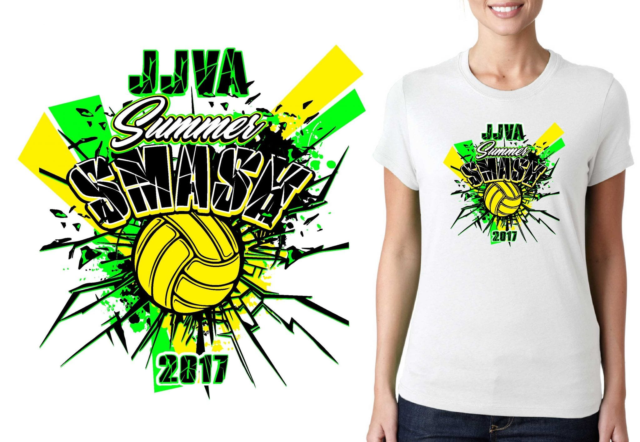PRINT 2017 Summer Smash vector logo design for t-shirt volleyball urartstudio.com