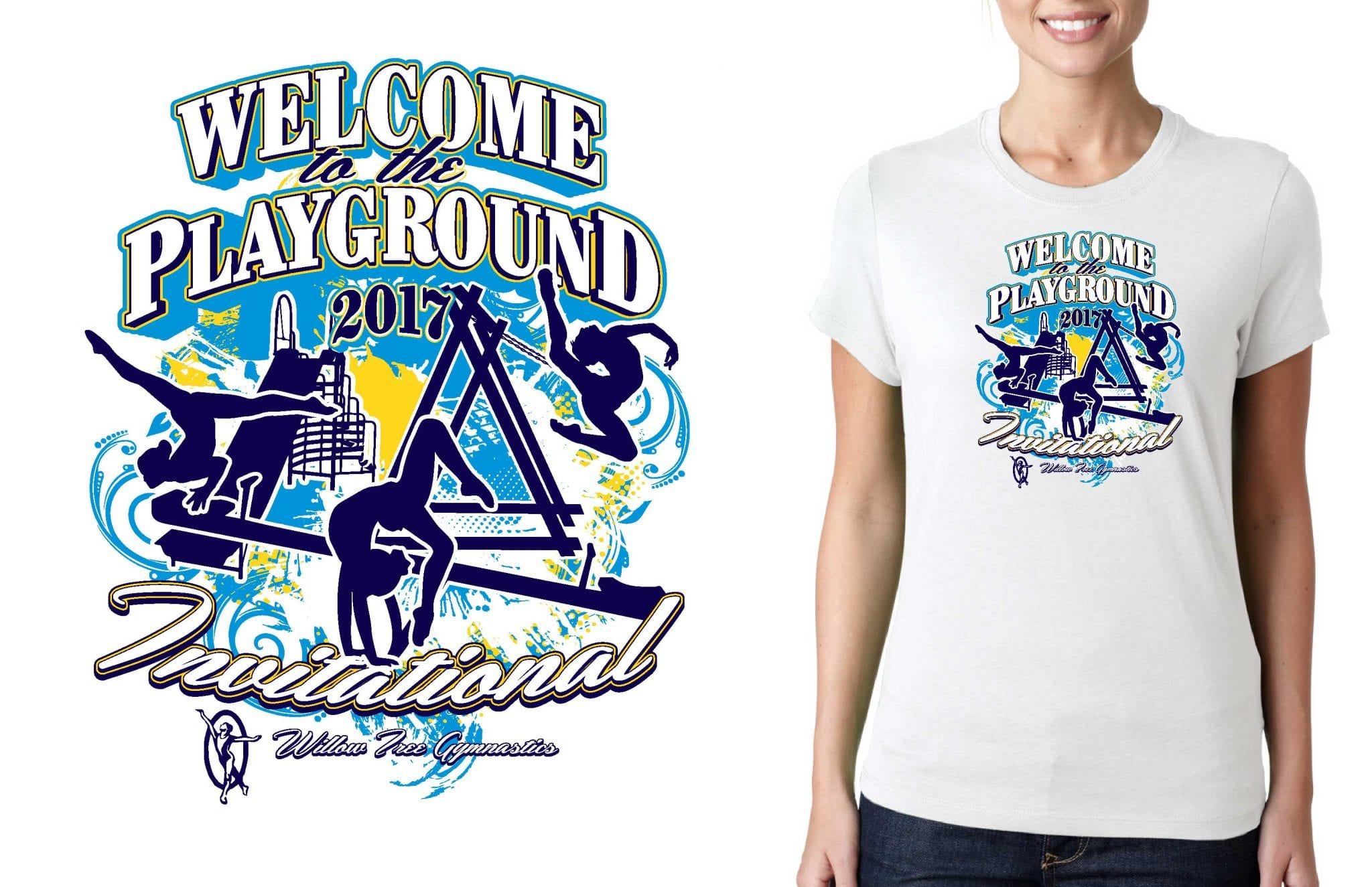 GYMNASTICS LOGO for Welcome-to-the-Playground-Invitational T-SHIRT UrArtStudio