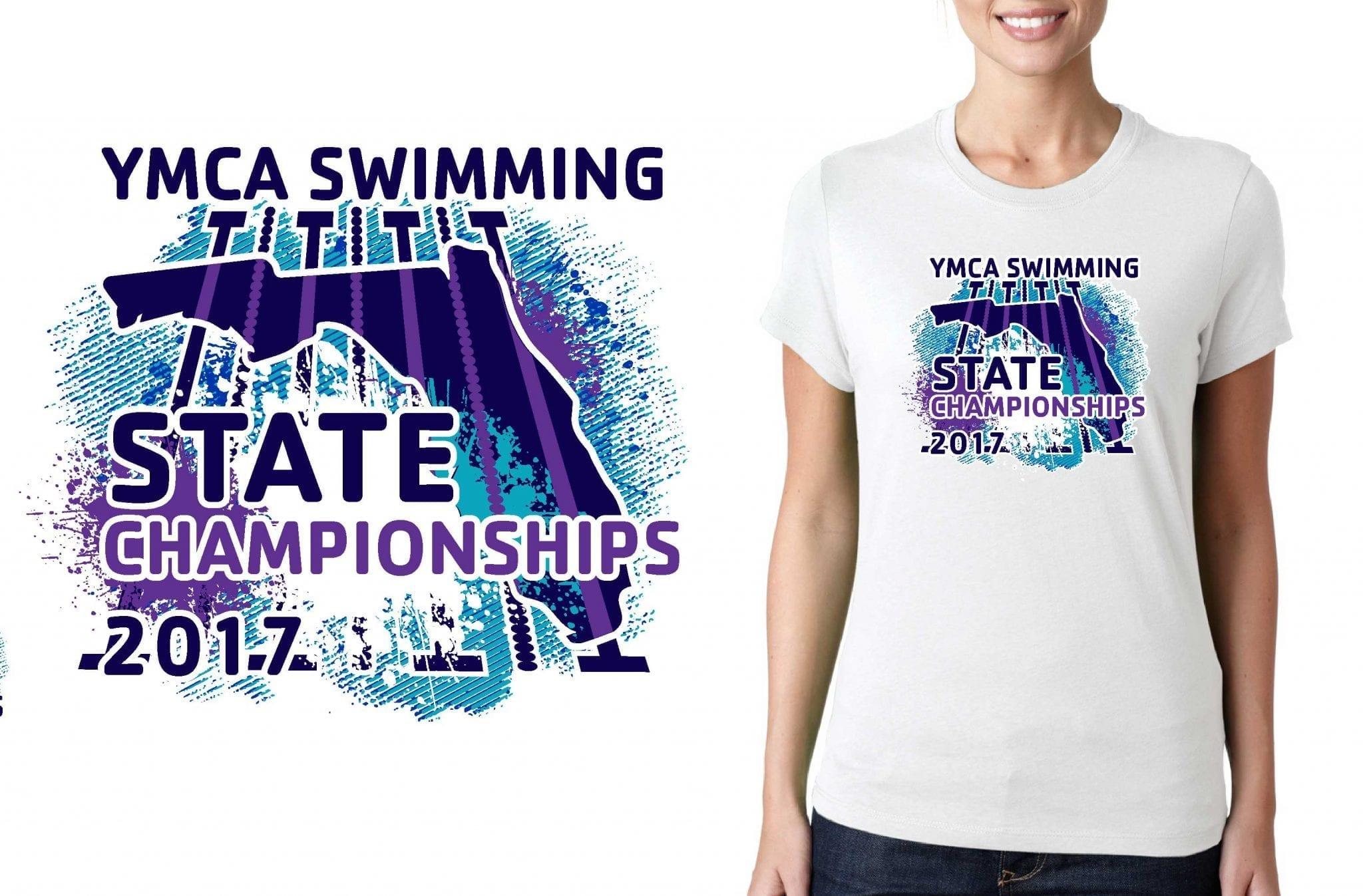 SWIMMING T SHIRT LOGO DESIGN YMCA-Swimming-State-Championships BY UrArtStudio