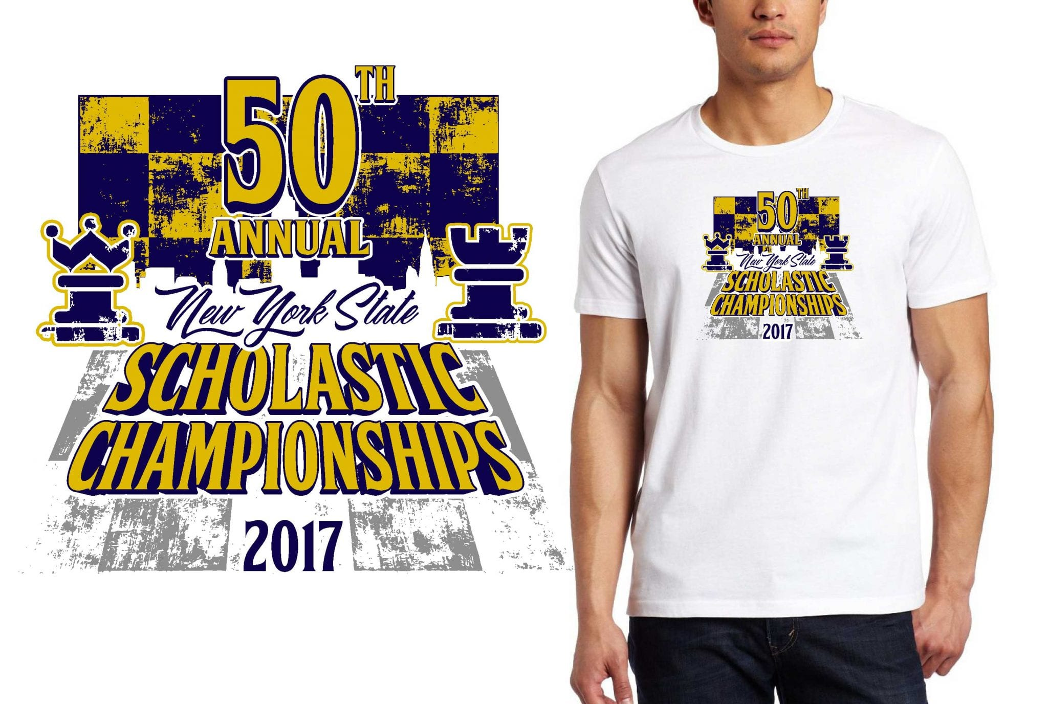 2017 50th Annual New York State Scholastic Championships vector logo design for chess t-shirt UrArtStudio