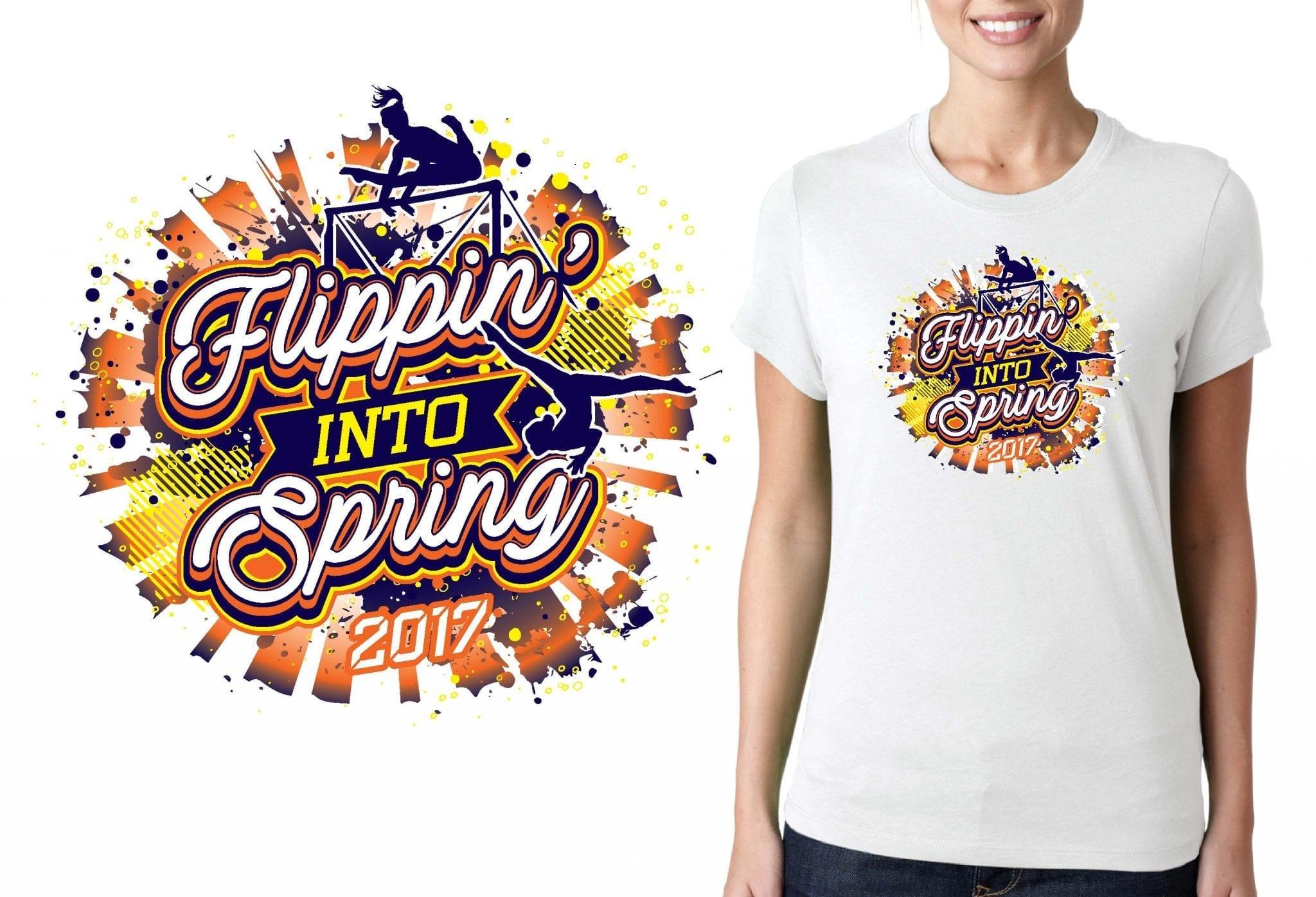 GYMNASTICS TSHIRT LOGO for Flippin-into-Spring BY UrArtStudio