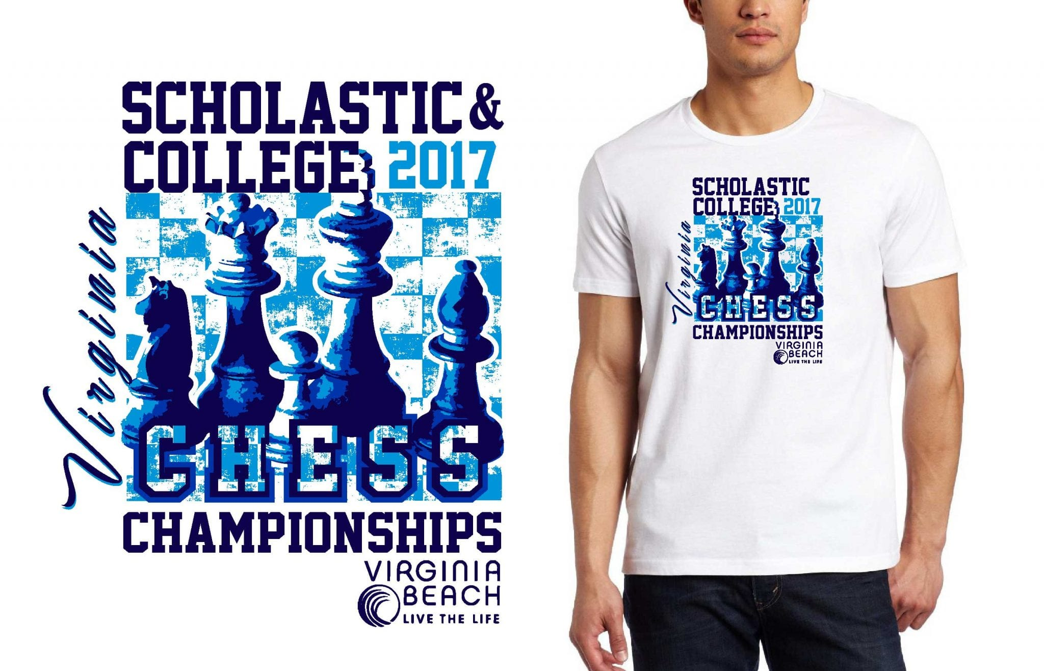 2017 VA Scholastic College Chess vector logo design for t-shirt UrArtStudio