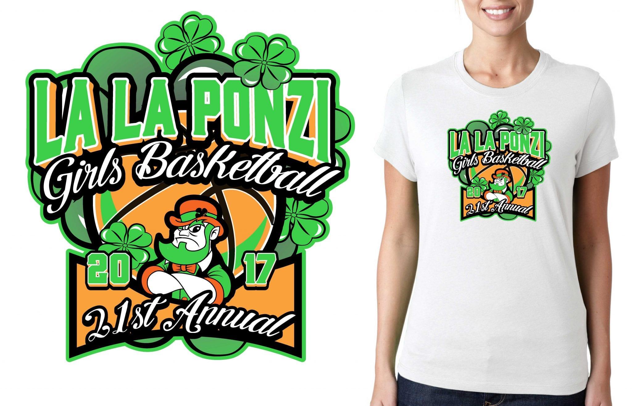 BASKETBALL TSHIRT LOGO for 2017-21st-Annual-La-La-Ponzi-Tournament BY UrArtStudio
