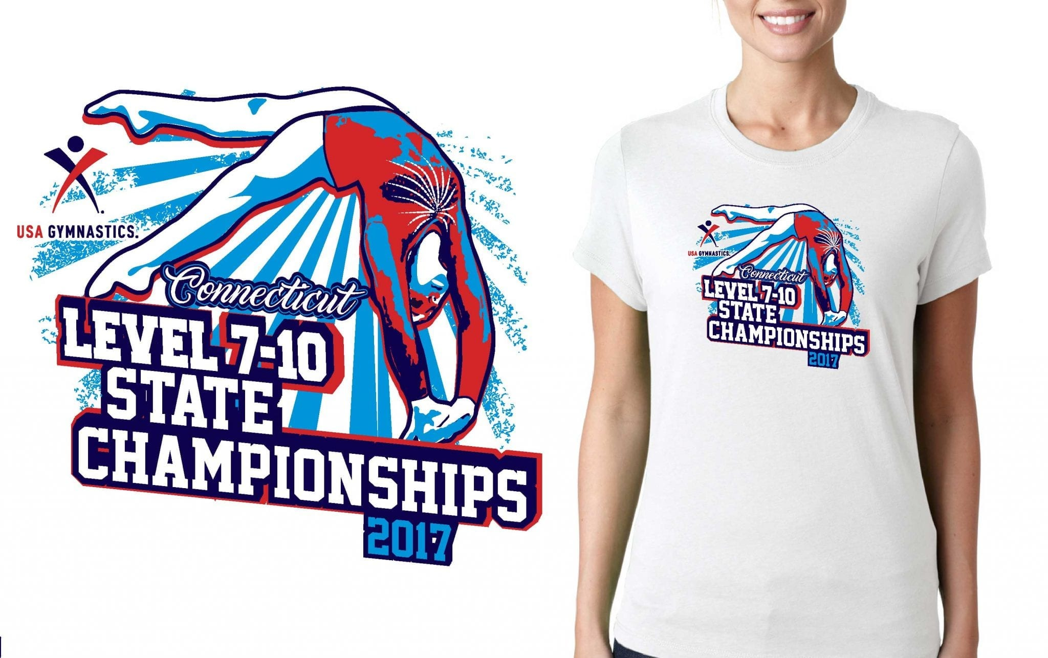 GYMNASTICS T SHIRT LOGO DESIGN CT-Level-7-10-State-Championship BY UrArtStudio