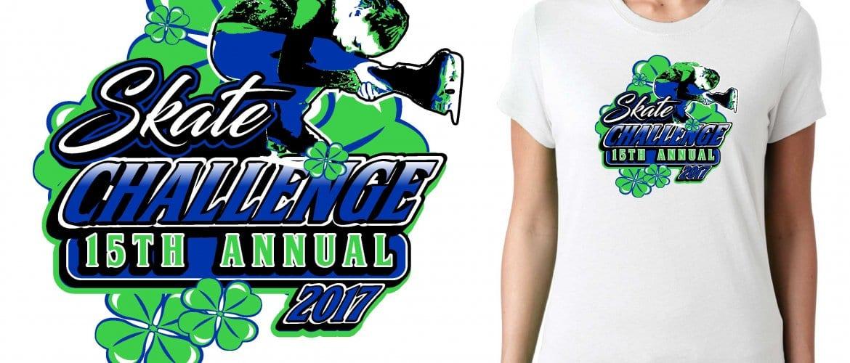 2017 15th Annual Skate Challenge vector logo design for figure skating t-shirt UrArtStudio