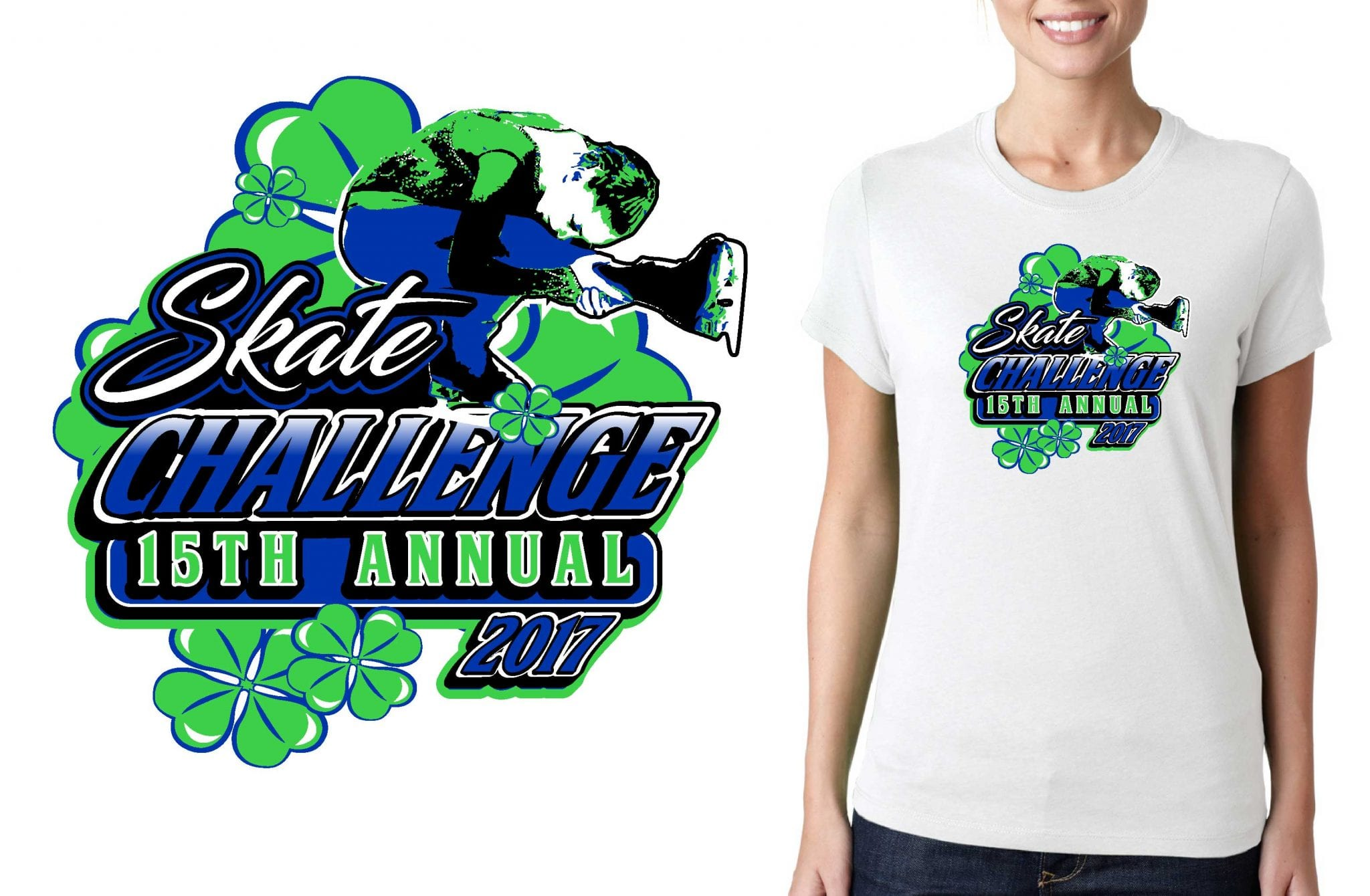 2017 15th Annual Skate Challenge vector logo design for figure skating t-shirt UrArtStudio