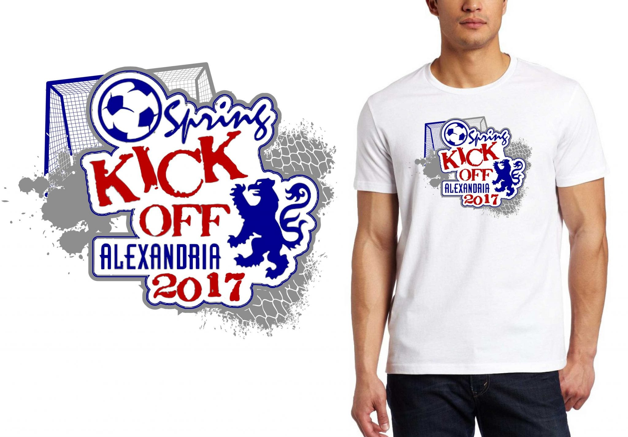 2017 Alexandria Soccer Kickoff Boys vector logo design for soccer t-shirt UrArtStudio