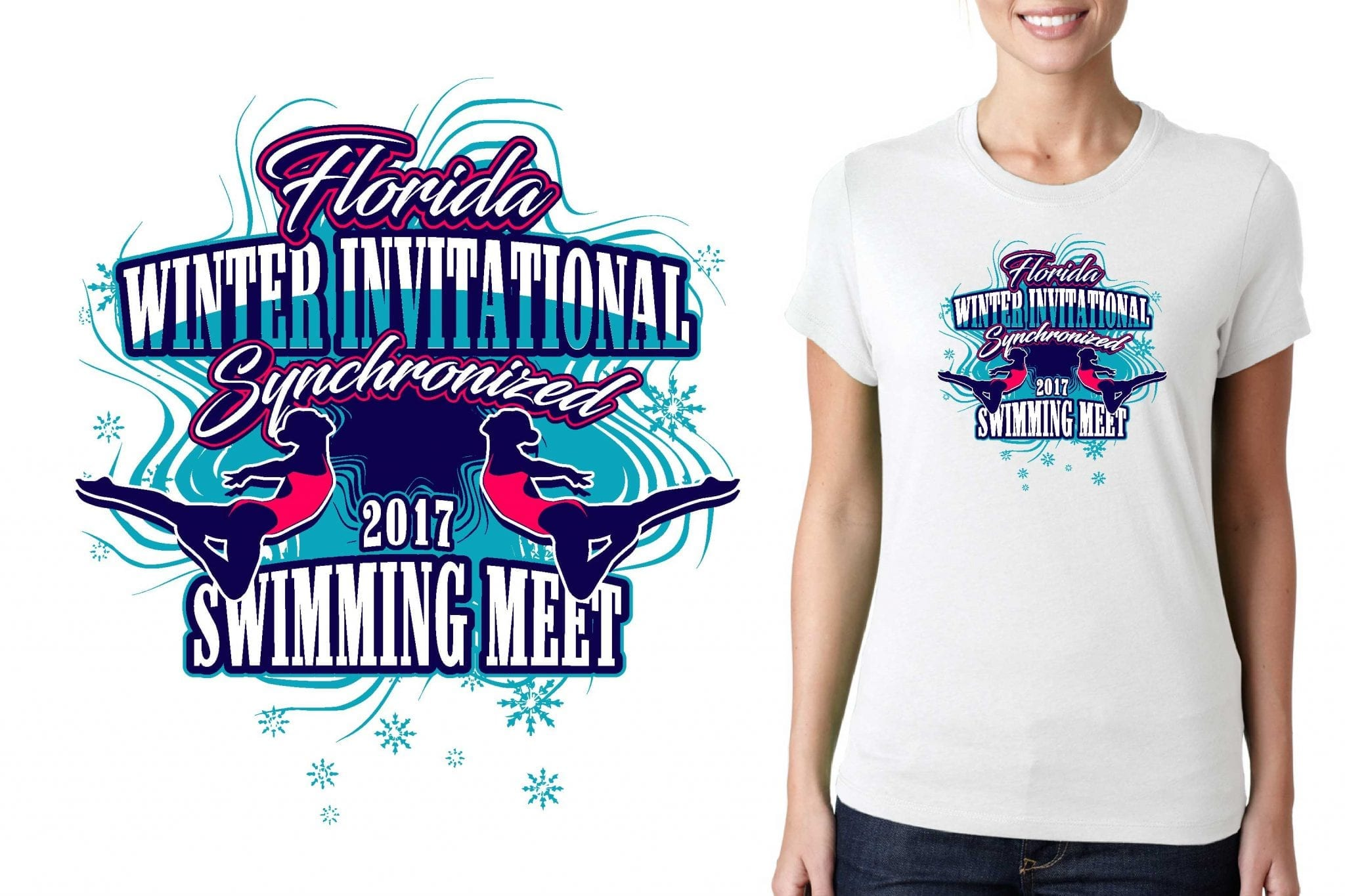 LOGO for Florida-Winter-Invitational-Synchronized-Swimming-Meet T-SHIRT UrArtStudio