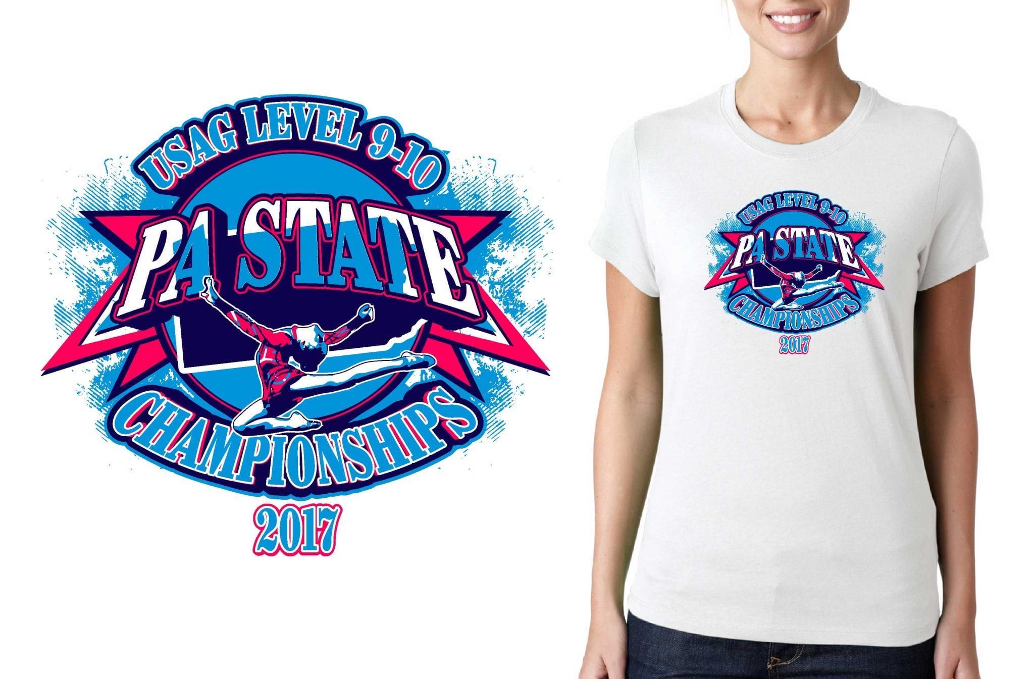 2017 level 9 10 pa state championships vector logo design Gymnastics t shirt designs