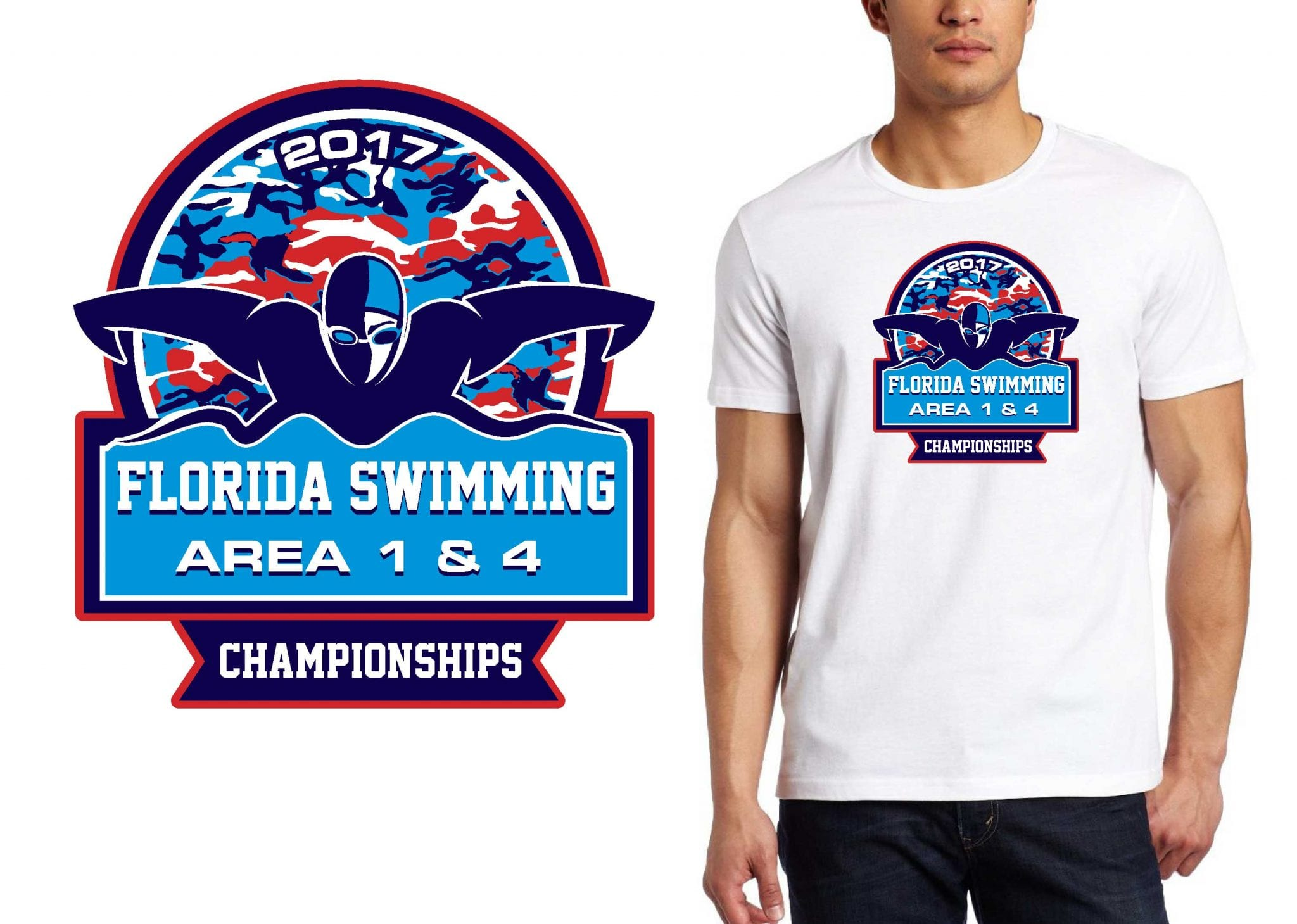 T SHIRT LOGO DESIGN Florida-Swimming-Area-1-4-Championships BY UrArtStudio