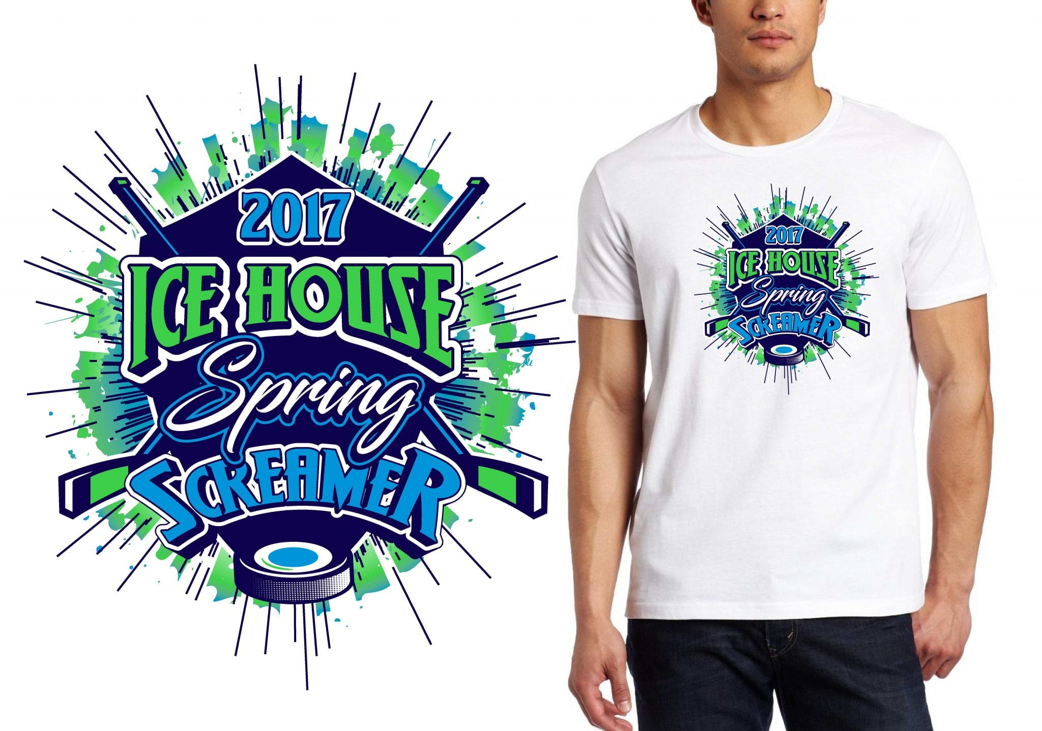 HOCKEY LOGO for Ice-House-Spring-Screamer T-SHIRT UrArtStudio