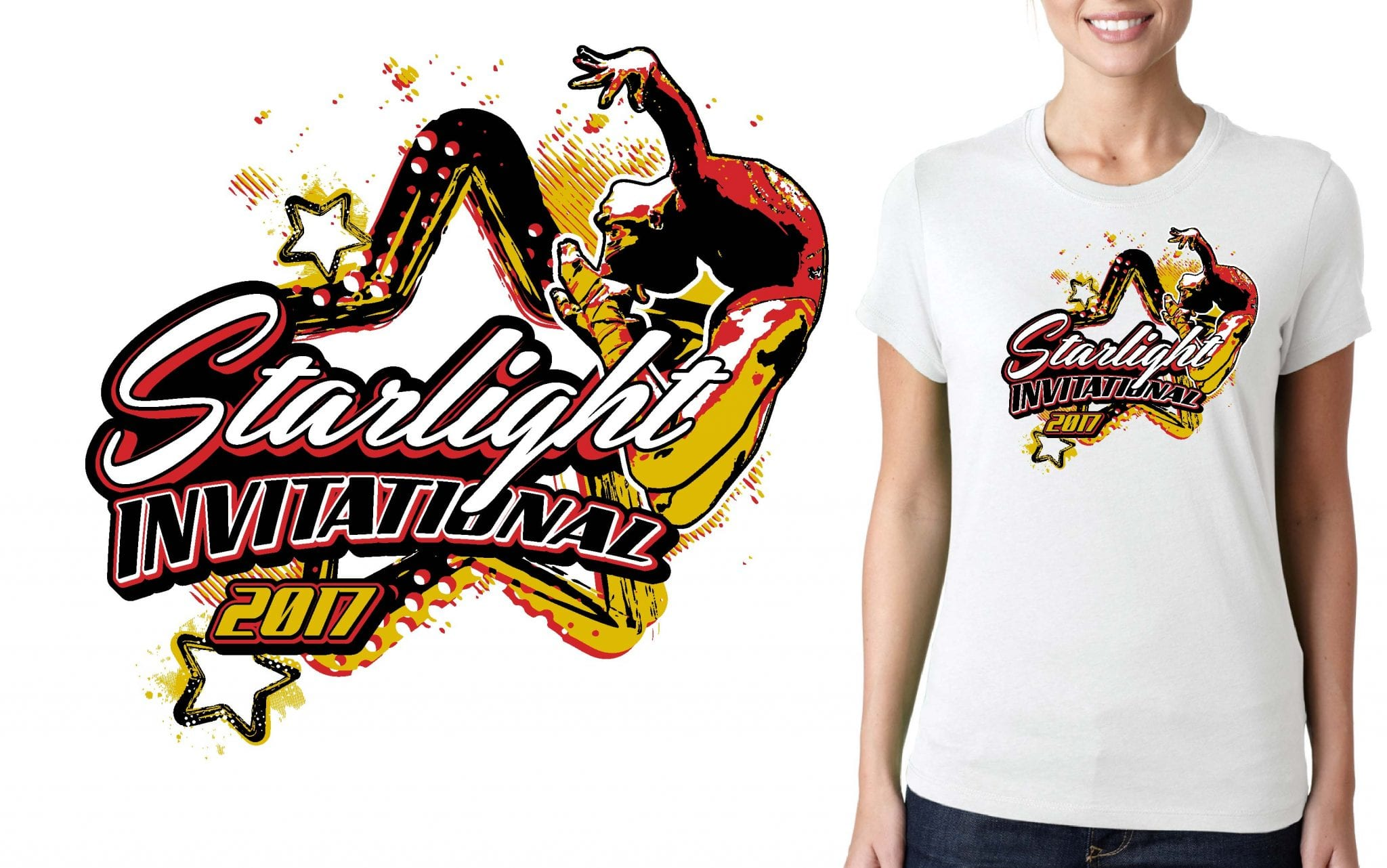 GYMNASTICS T SHIRT LOGO DESIGN Starlight-Invitational BY UrArtStudioGYMNASTICS T SHIRT LOGO DESIGN Starlight-Invitational BY UrArtStudio