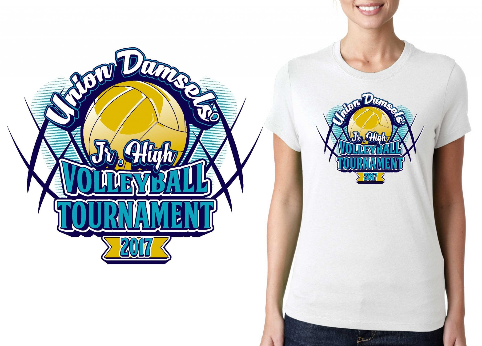 VOLLEYBALL TSHIRT LOGO DESIGN Union-School-District-Volleyball-Tournament BY UrArtStudio