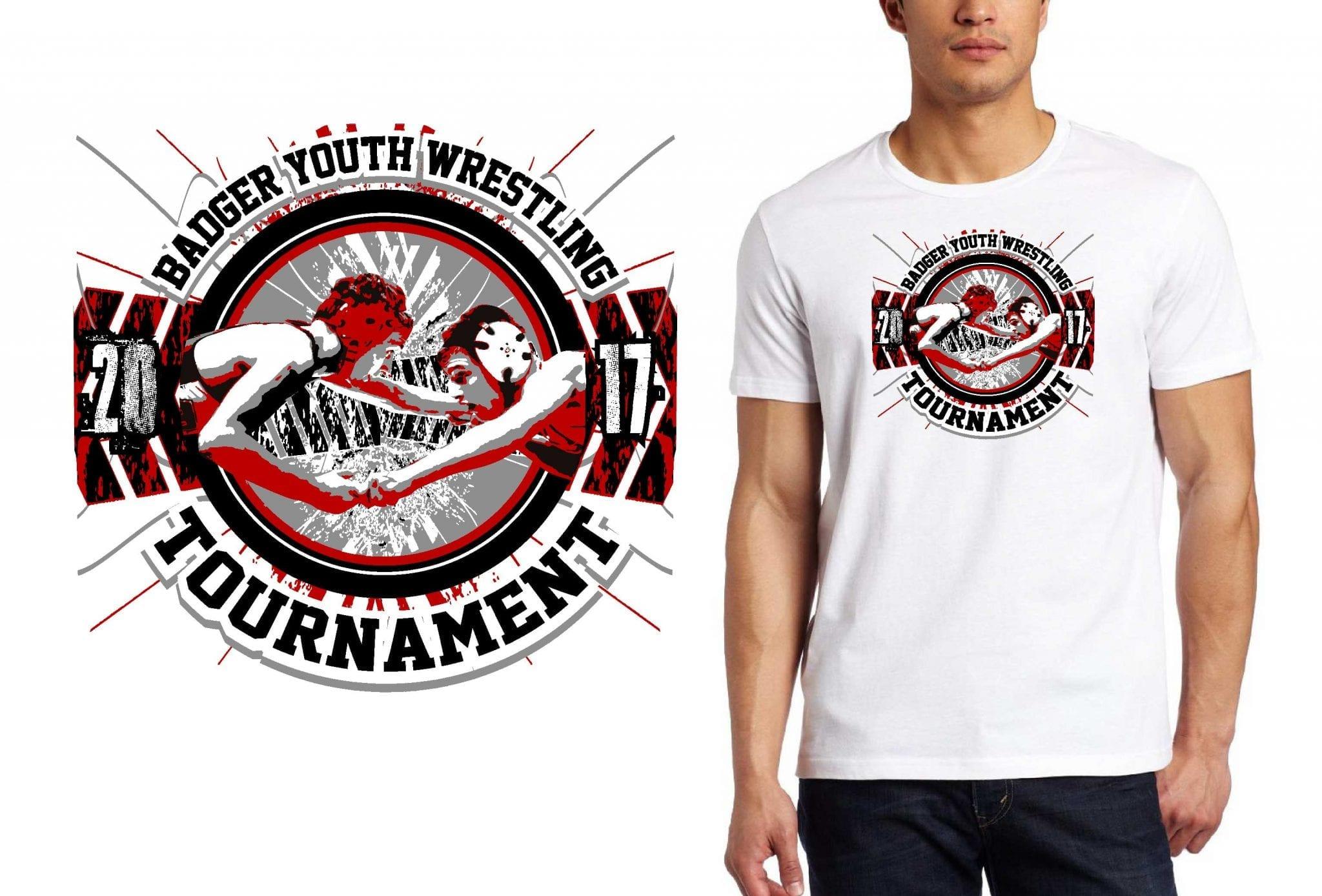 WRESTLING T SHIRT LOGO DESIGN Badger-Youth-Wrestling-Tournament BY UrArtStudio