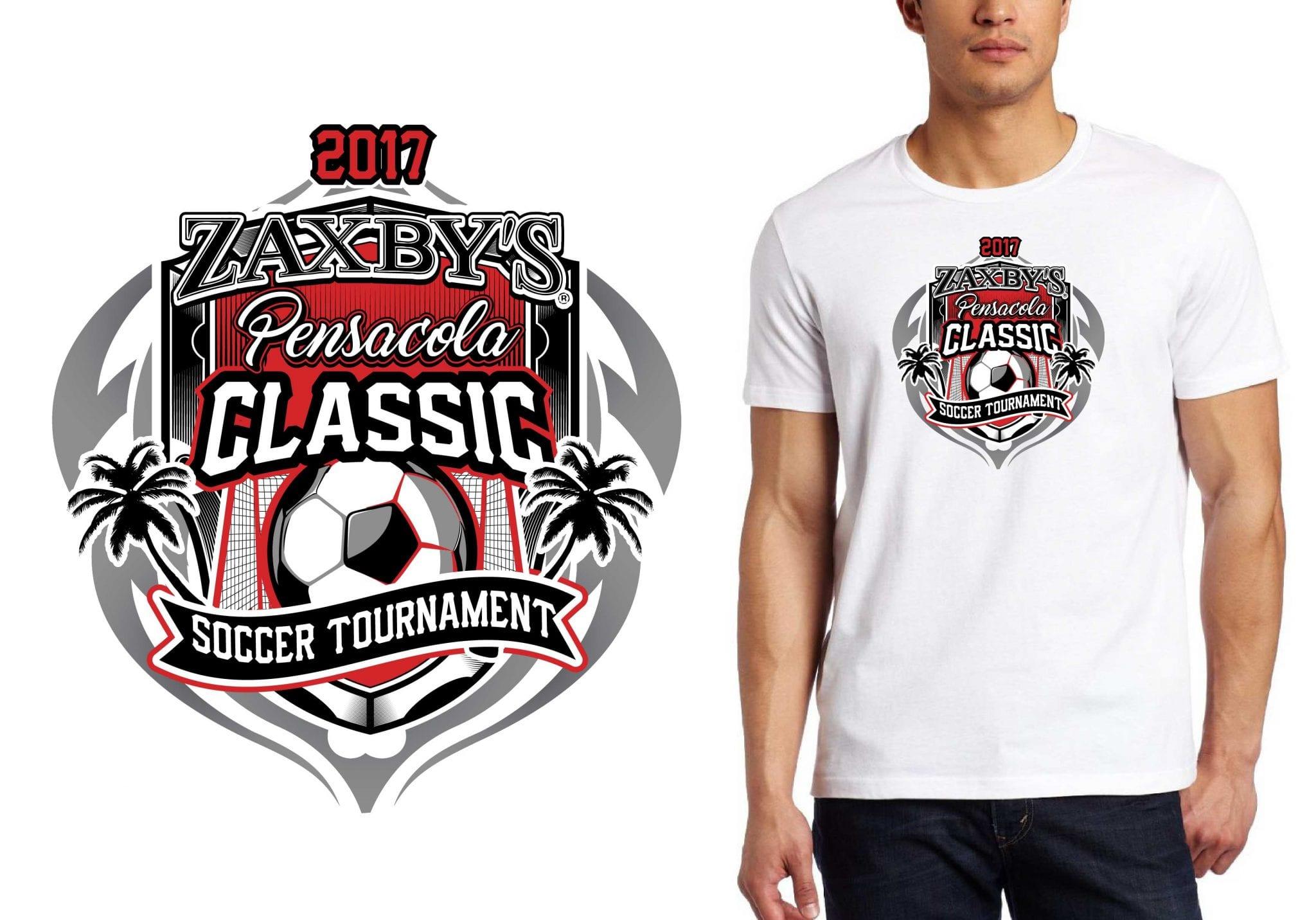FRONT 2017 Zaxbys Pensacola Classic Soccer Tournament vector logo design for soccer t-shirt UrArtStudio