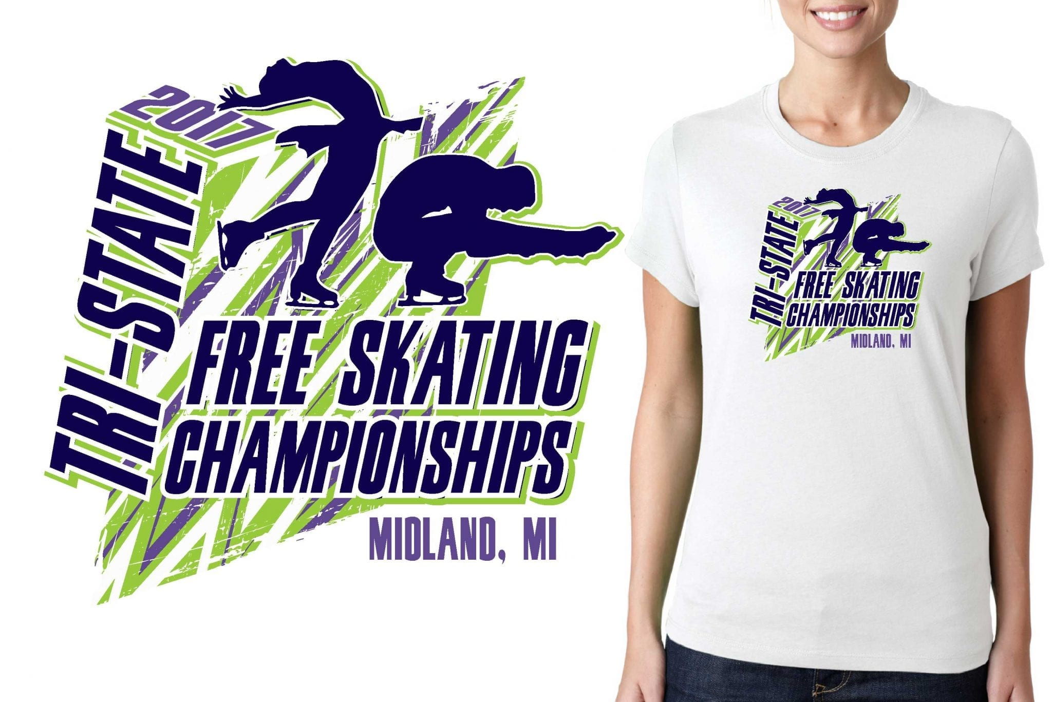 FIGURE SKATING LOGO for Tri-State-Free-Skating-Championships T-SHIRT UrArtStudio