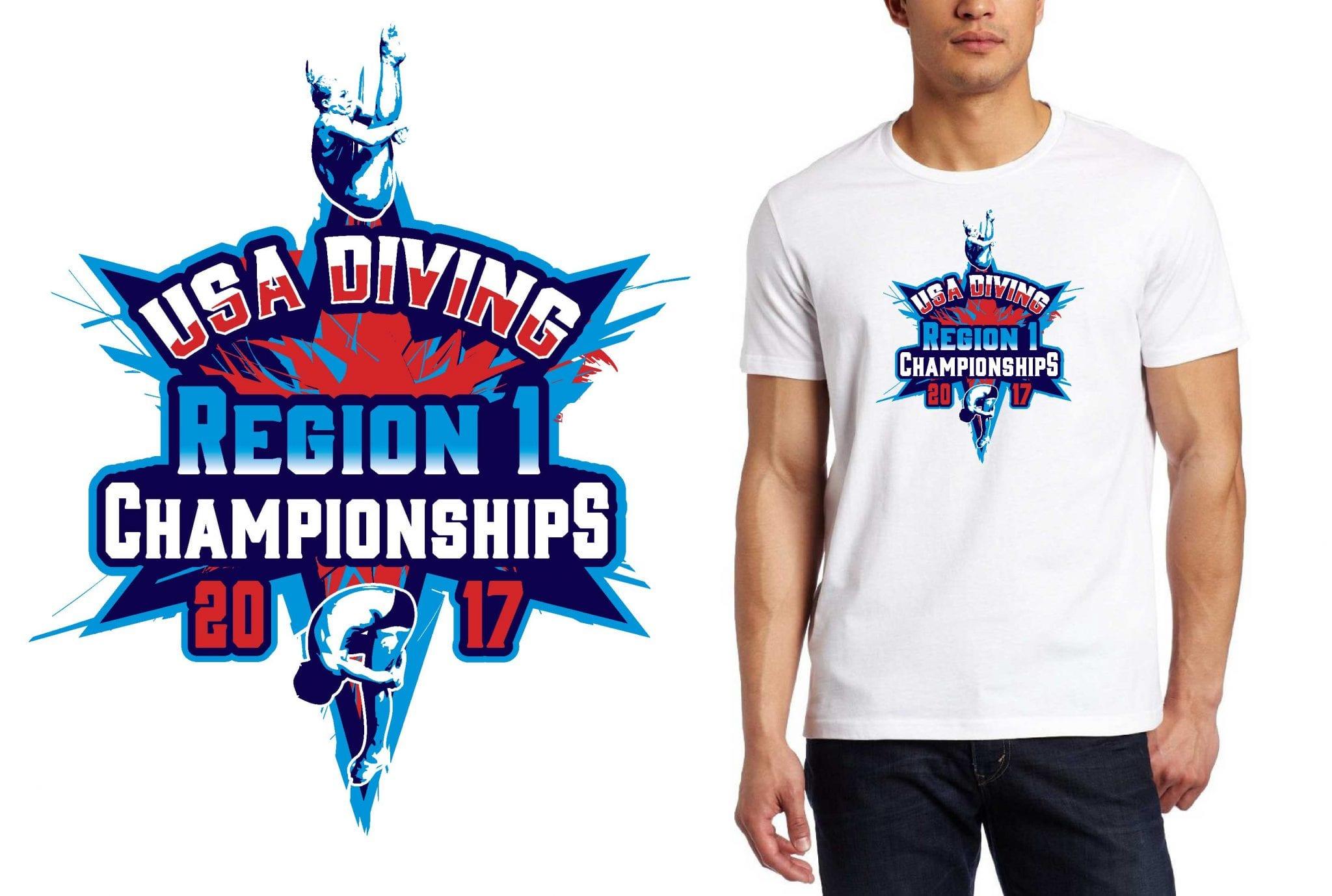 2017 USA Diving Region 1 Championships vector logo design for diving t-shirt UrArtStudio