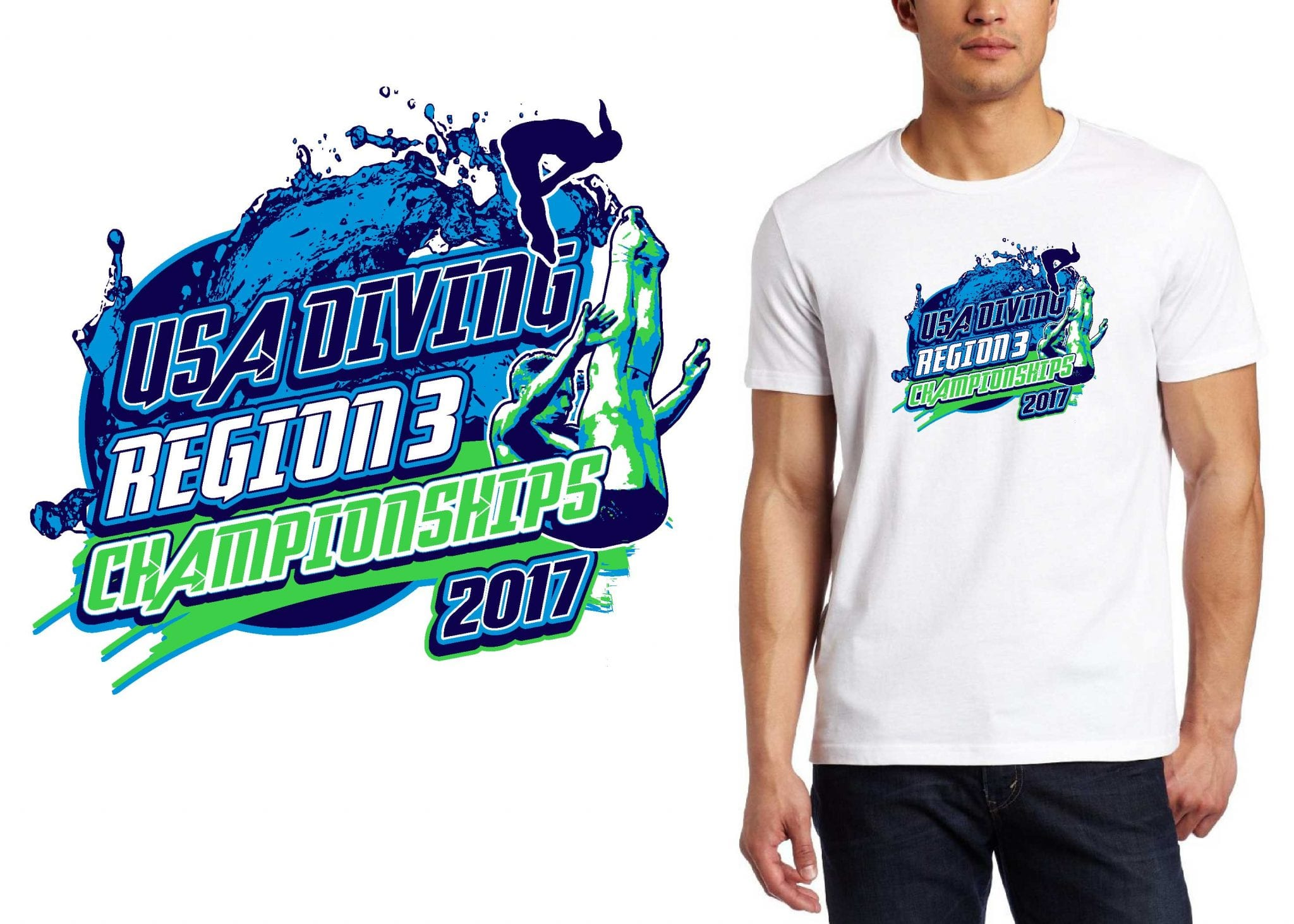 2017 USA Diving Region 3 Championships vector logo design for swimming and diving t-shirt UrArtStudio