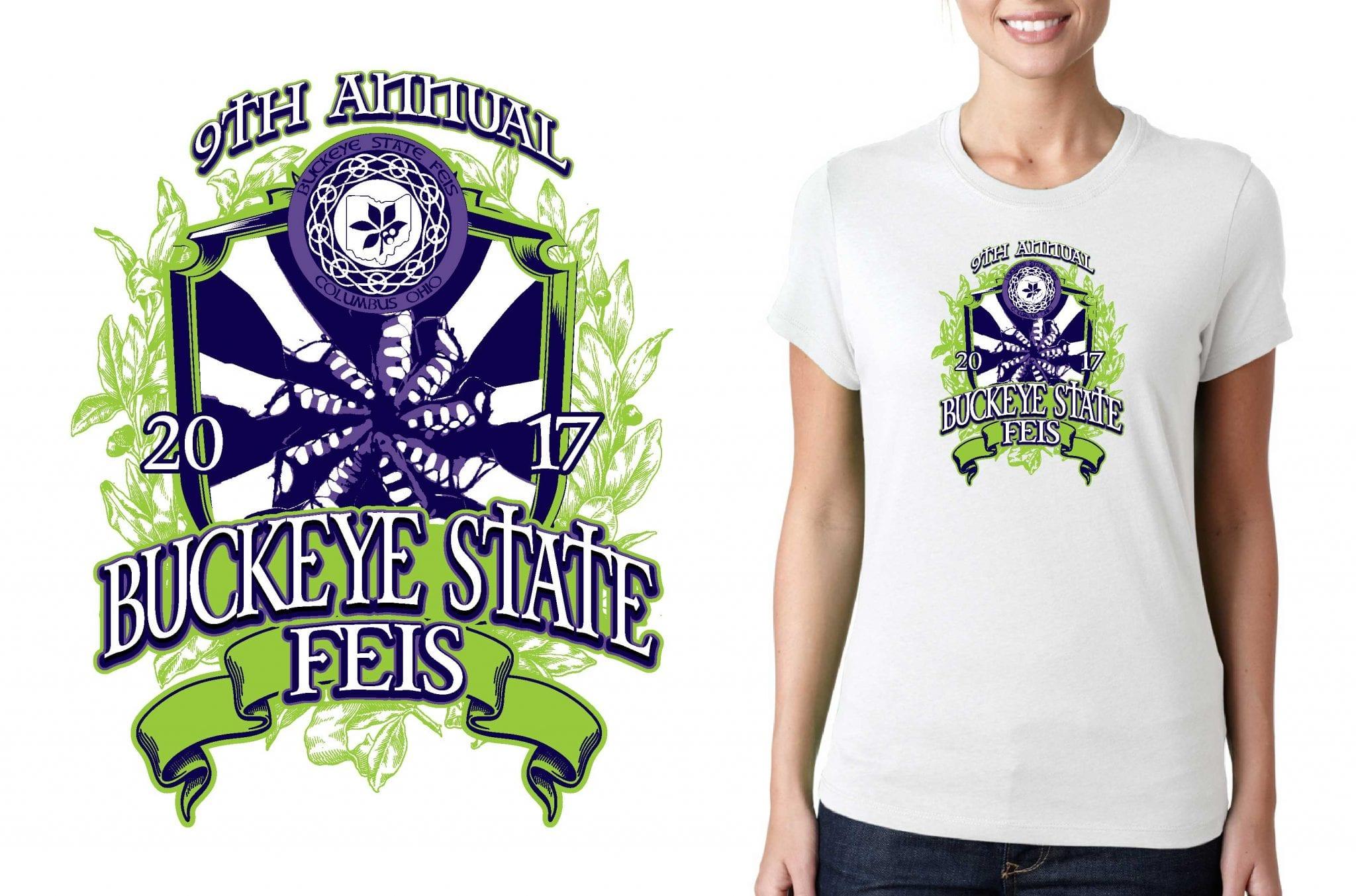 2017 9th Annual Buckeye State Feis vector logo design for feis t-shirt UrArtStudio