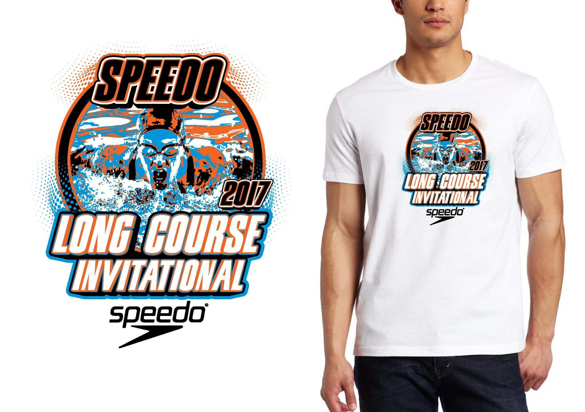 SWIMMING LOGO for Speedo-LC-Invitational-at-Frank-Brown T-SHIRT UrArtStudio