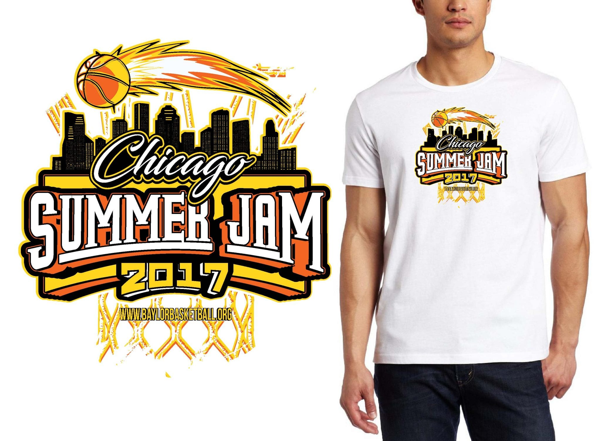 BASKETBALL T-SHIRT LOGO DESIGN Chicago-Summer-Jam BY UrArtStudio