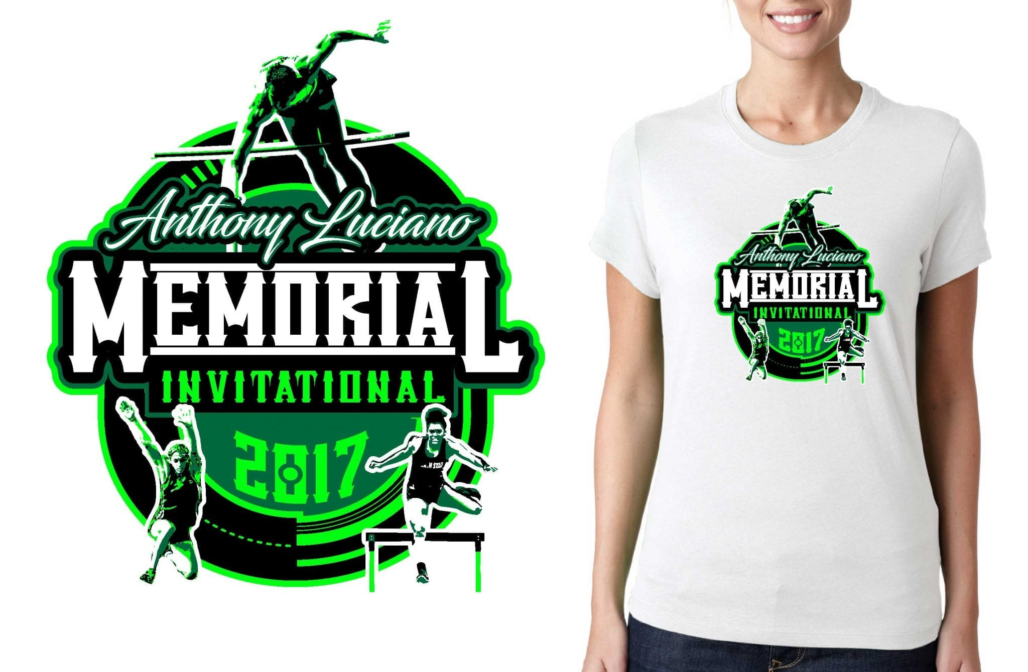 TRACK AND FIELD T-SHIRT LOGO DESIGN Anthony-Luciano-Memorial-Invitational-Tournament BY UrArtStudio