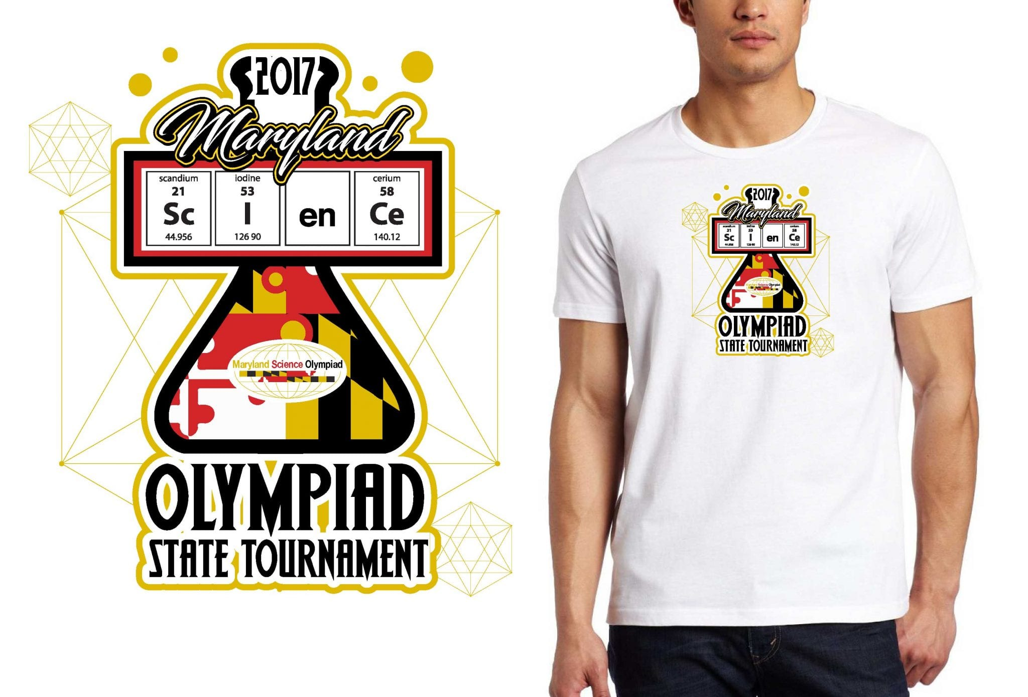 2017 Maryland Science Olympiad State Tournament MD vector logo design for t-shirt UrArtStudio