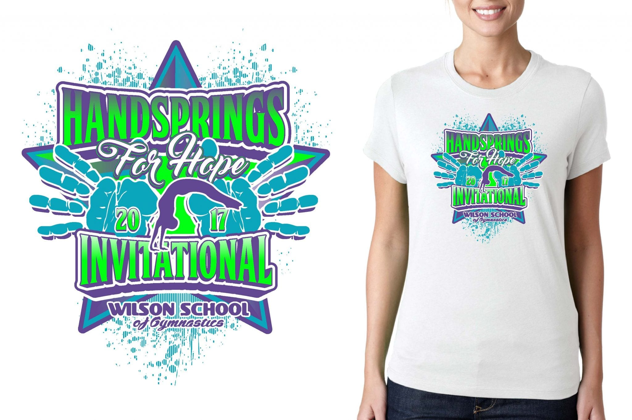 GYMNASTICS T SHIRT LOGO DESIGN Handsprings-for-Hope BY UrArtStudio