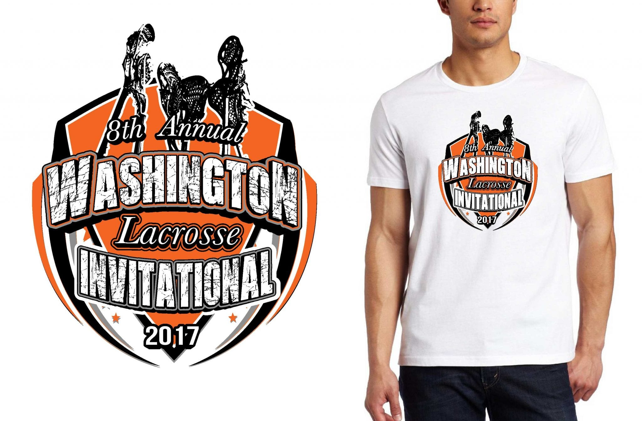LACROSSE LOGO for 8th-Annual-Washington-Lacrosse-Invitational T-SHIRT UrArtStudio