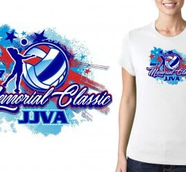 2017 Memorial Classic vector logo design for volleyball t-shirt UrArtStudio