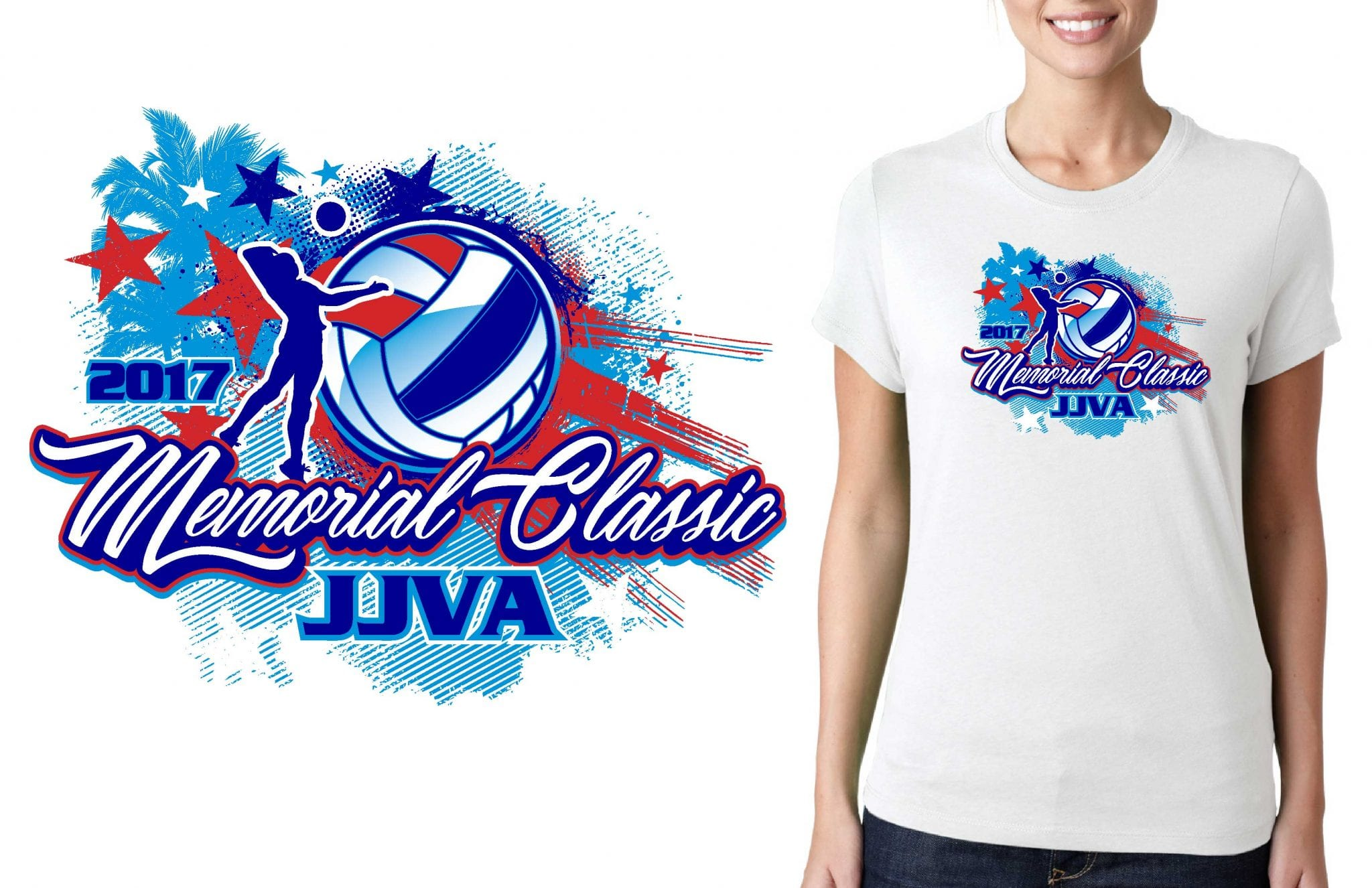 2017 Memorial Classic vector logo design for volleyball t-shirt UrArtStudio