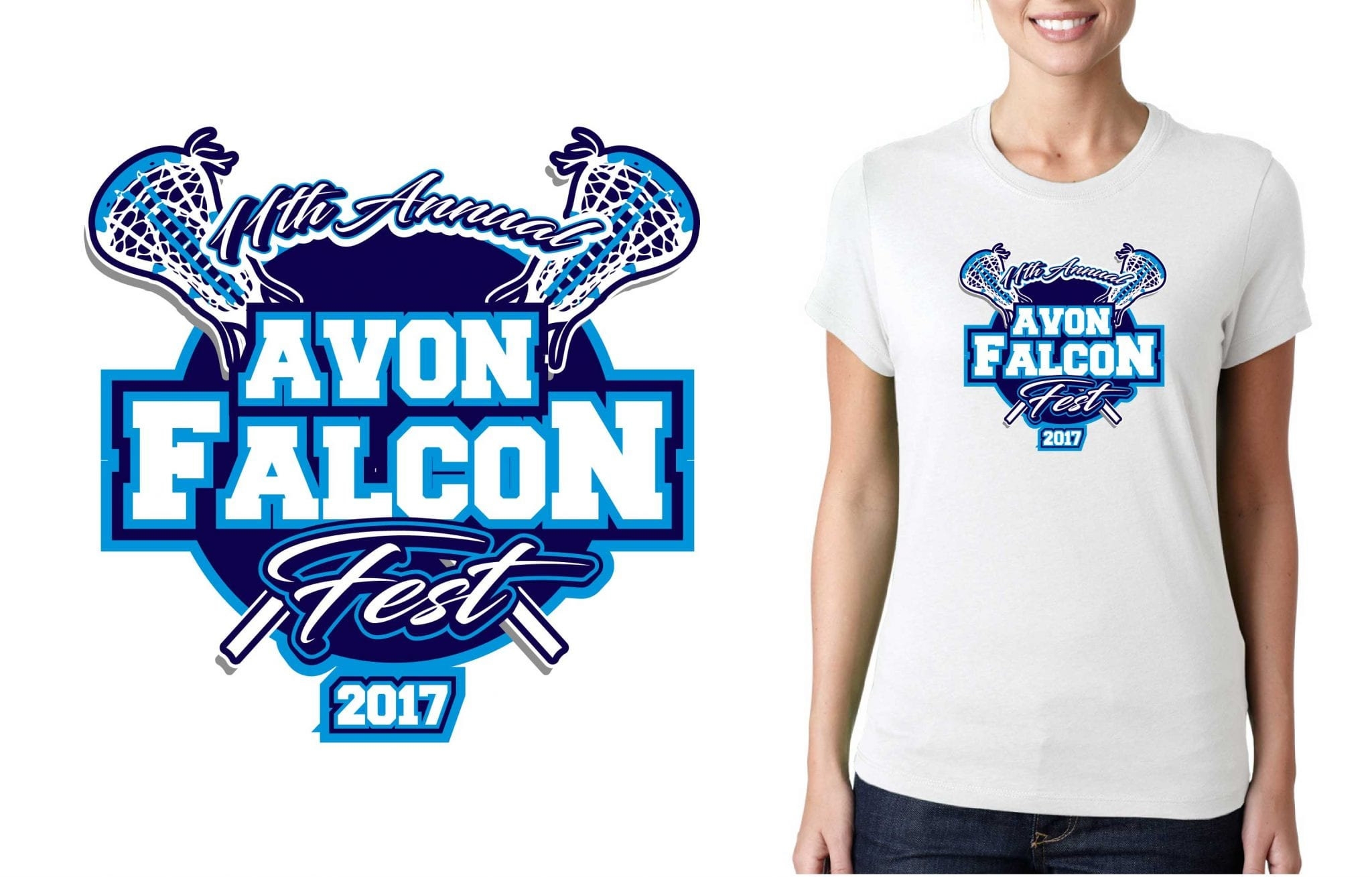 LACROSSE LOGO for 11th-Annual-Avon-Falcon-Fest T-SHIRT UrArtStudio