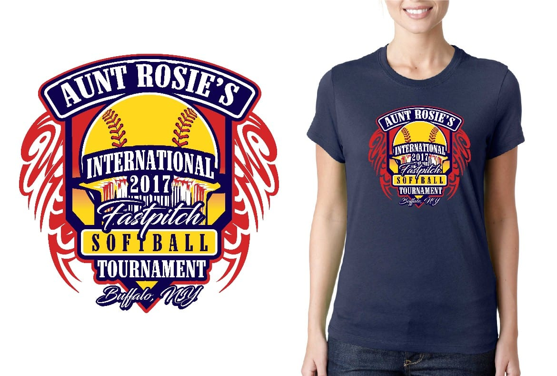 SOFTBALL LOGO for Aunt-Rosies-International-Fast-Pitch-Softball-Tournament T-SHIRT UrArtStudio