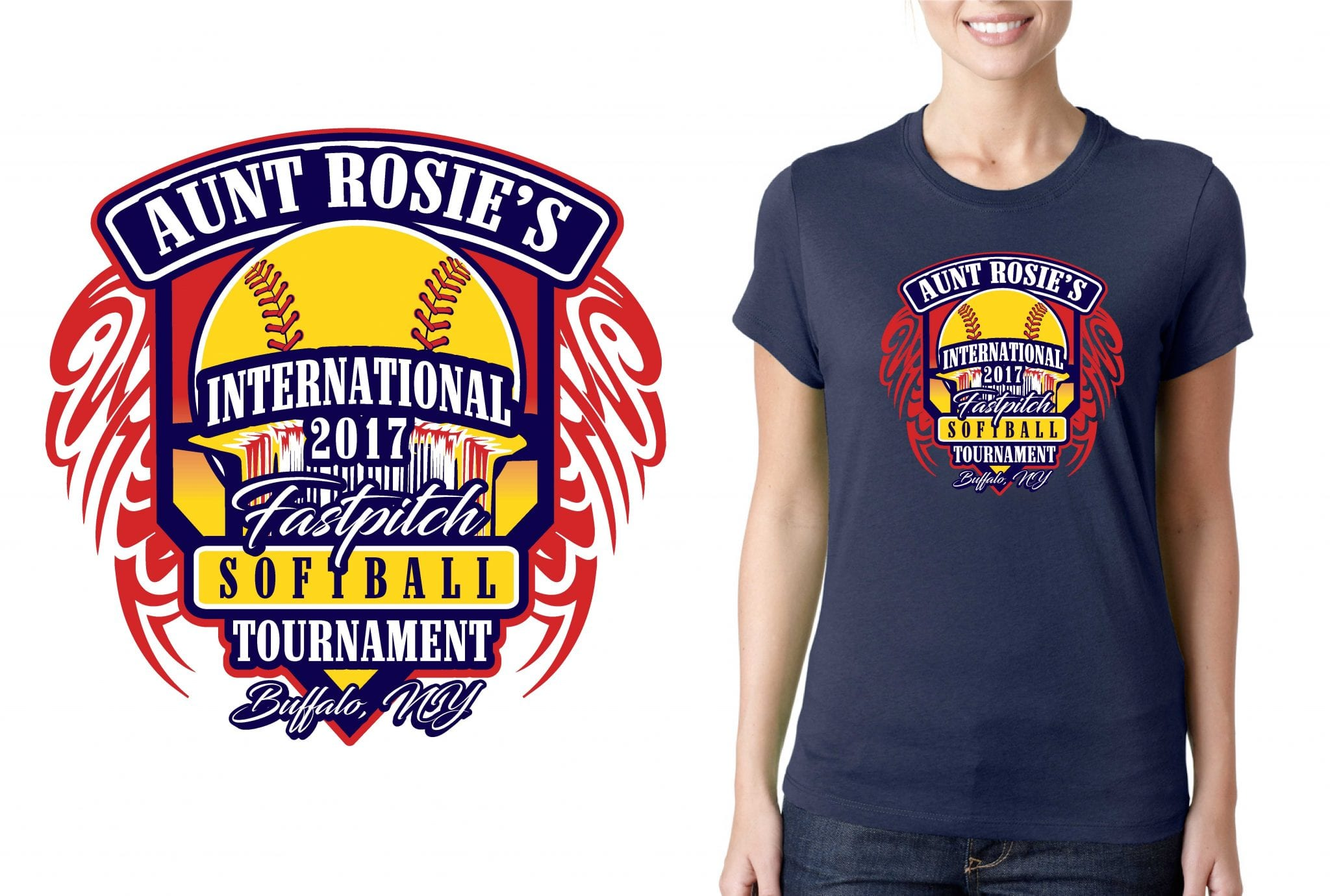 SOFTBALL LOGO for Aunt-Rosies-International-Fast-Pitch-Softball-Tournament T-SHIRT UrArtStudio