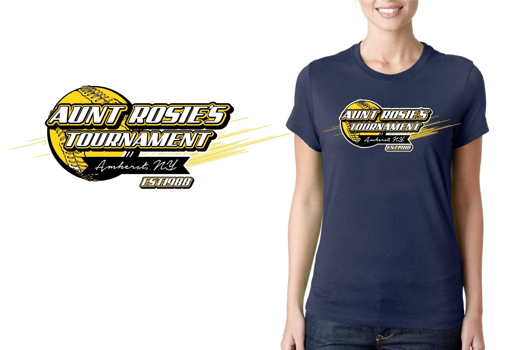 LOGO for Aunt Rosies International Fast Pitch Softball Tournament T-SHIRT UrArtStudio