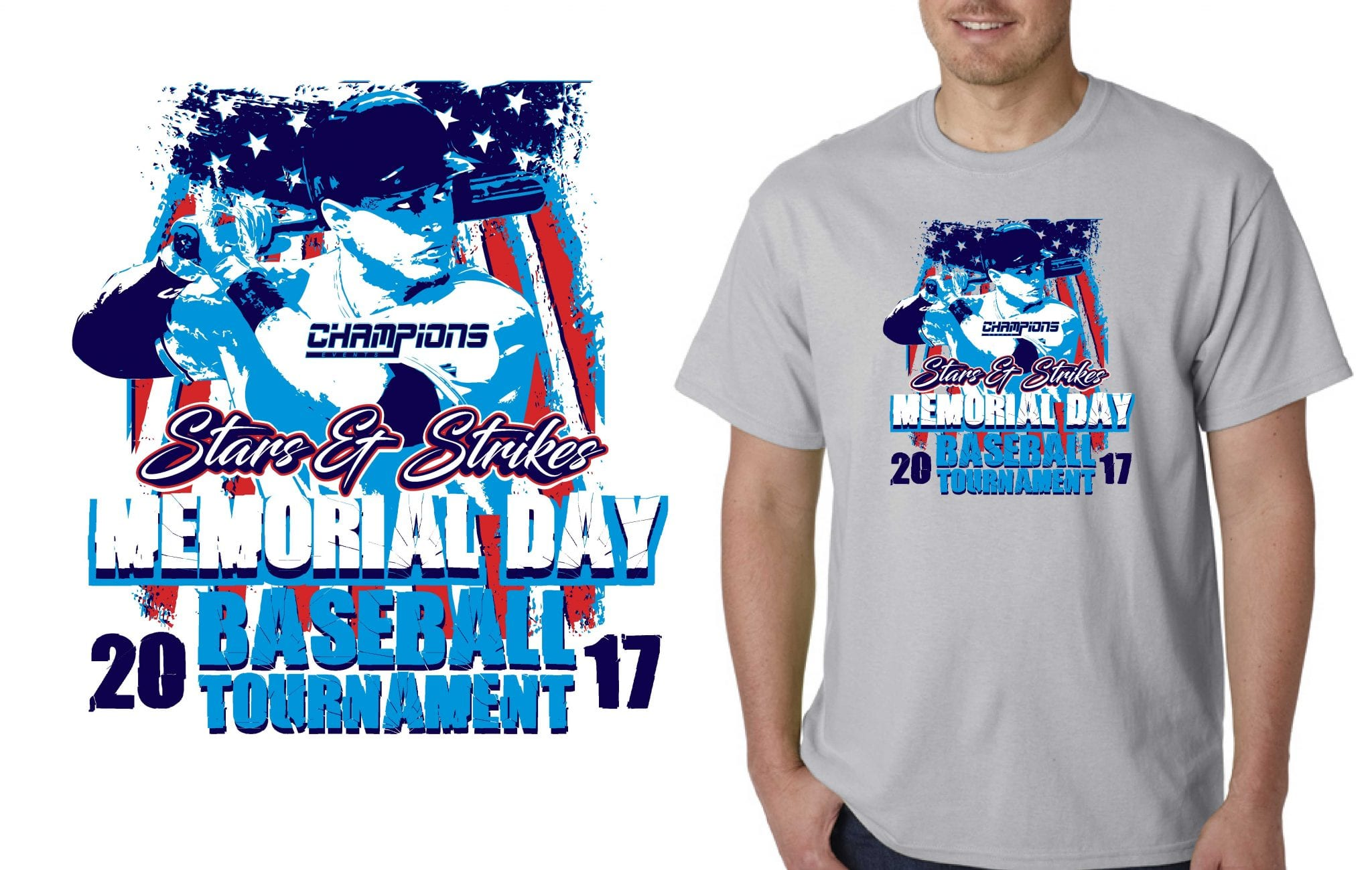 TSHIRT LOGO DESIGN Stars-Strikes-Memorial-Day-Baseball-Tournament BY UrArtStudio