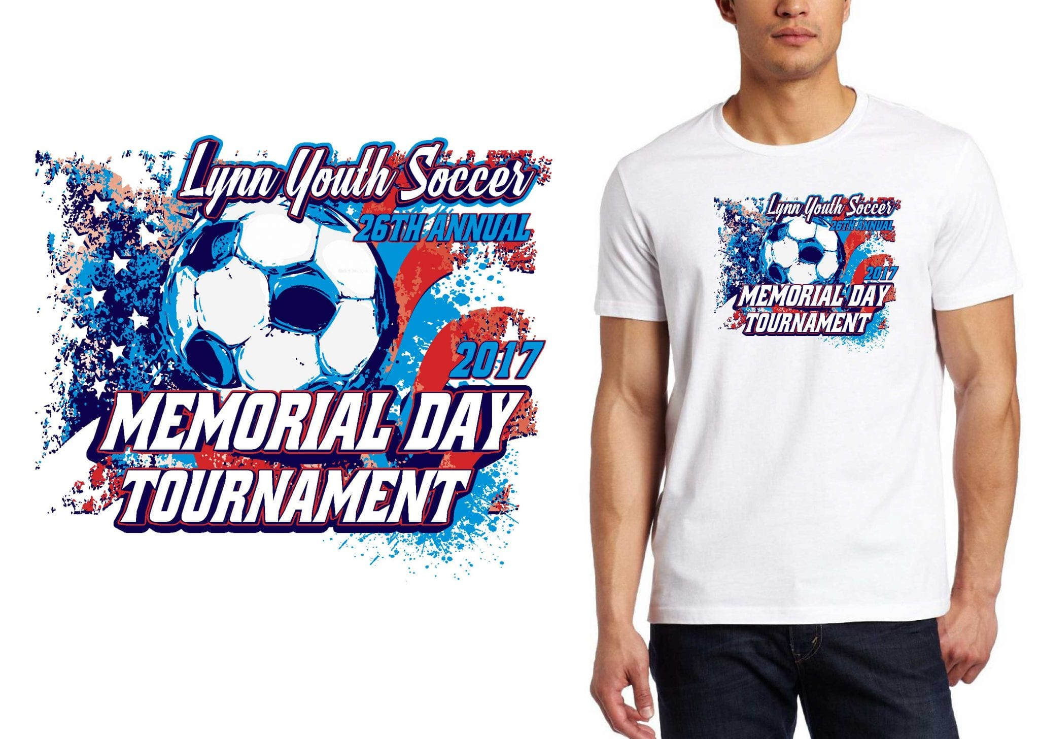 2017 26th Annual Lynn Youth Soccer Memorial Day Tournament vector logo design for t-shirt soccer urartstudio.com