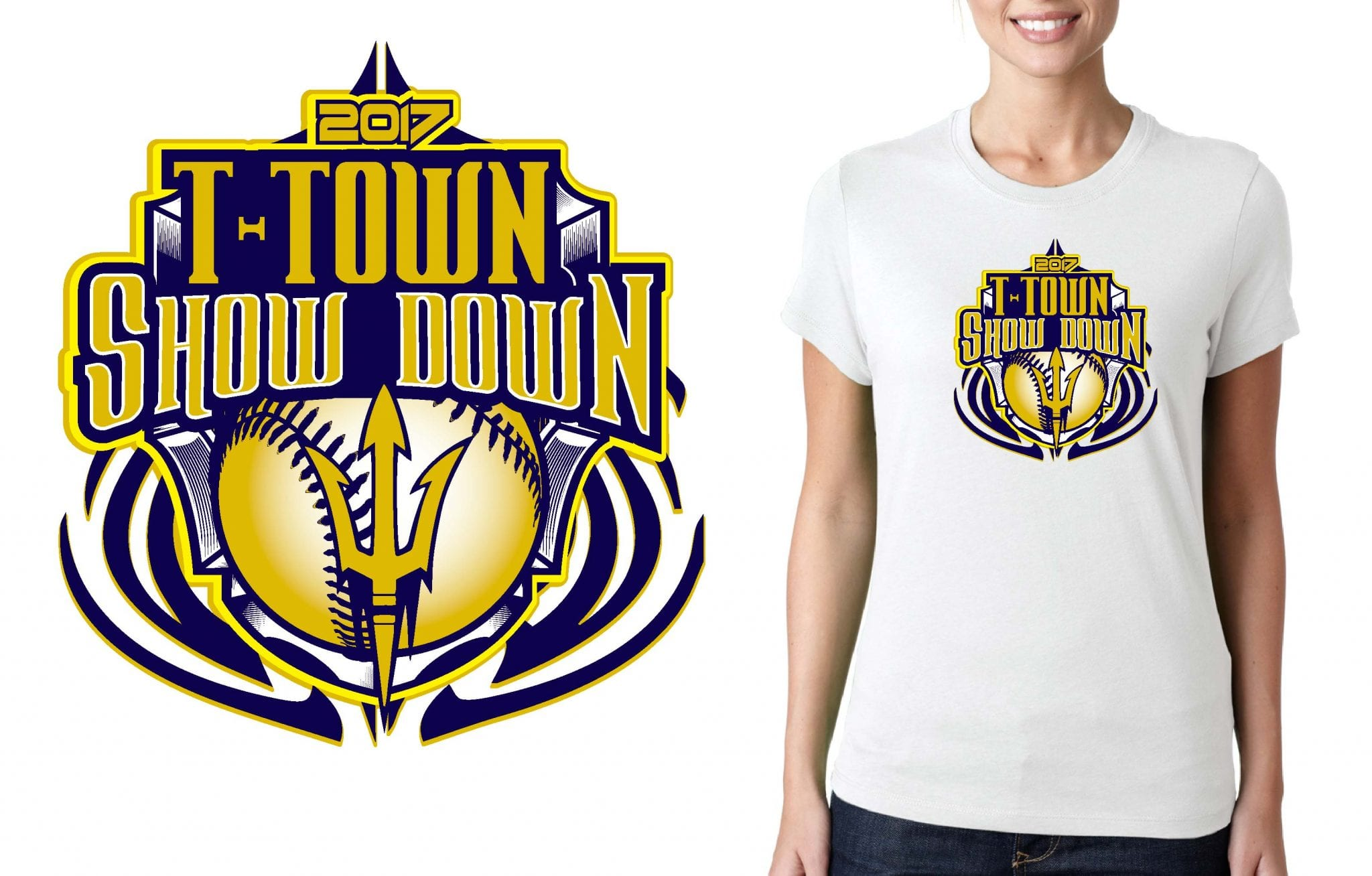 SOFTBALL LOGO for T-Town-ShowDown T-SHIRT UrArtStudio