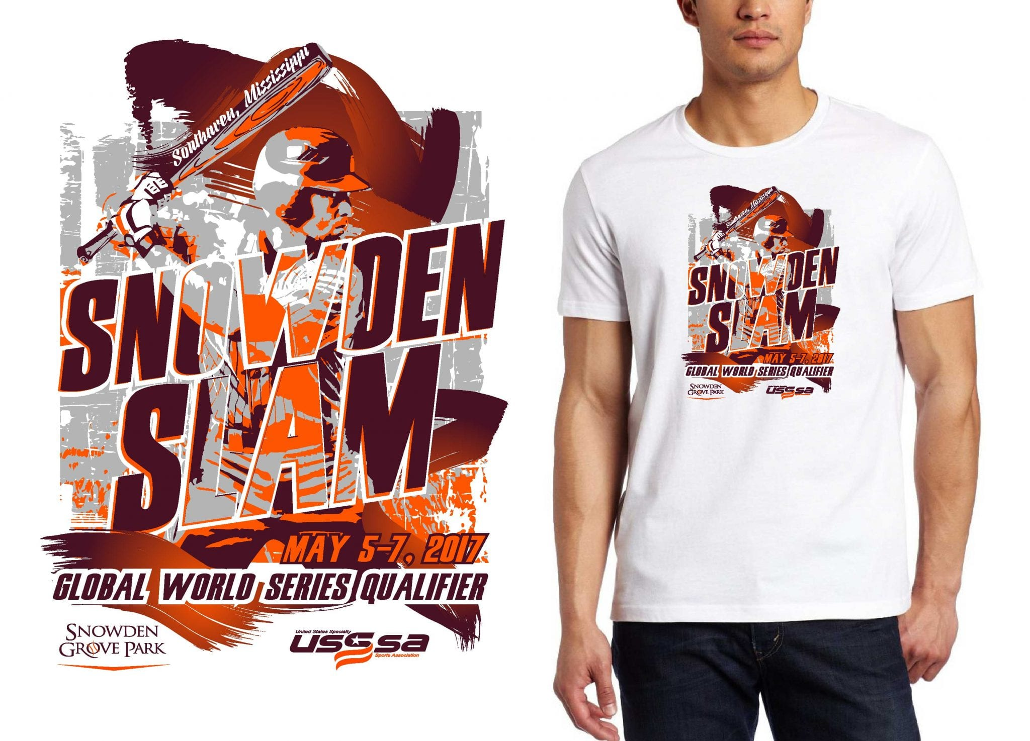 BASEBALL LOGO for Snowden-Slam T-SHIRT UrArtStudio