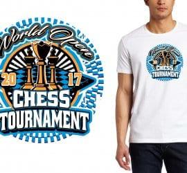 2017 World Open Chess Tournament vector logo design for chess t-shirt UrArtStudio