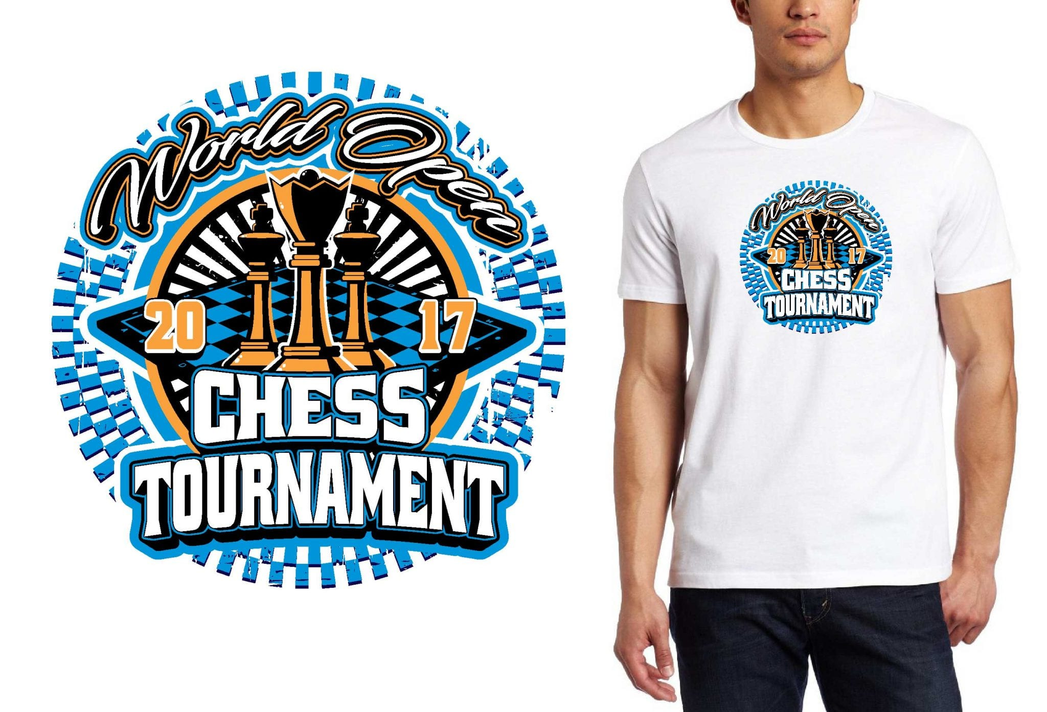2017 World Open Chess Tournament vector logo design for chess t-shirt UrArtStudio