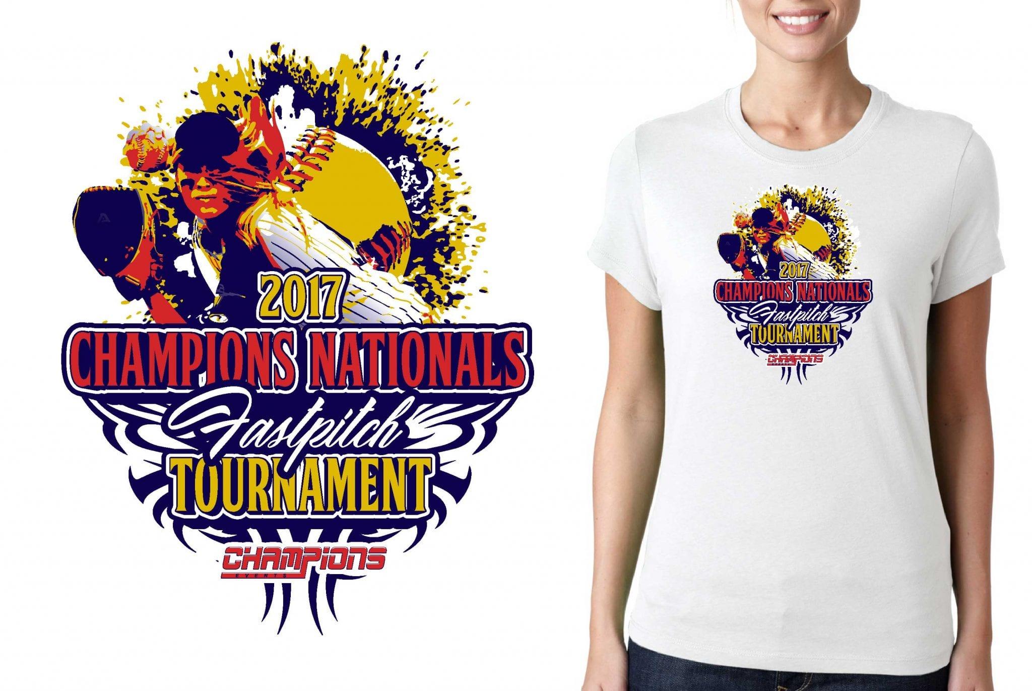 SOFTBALL TSHIRT LOGO DESIGN Champions-Nationals-Fastpitch-Tournament BY UrArtStudio
