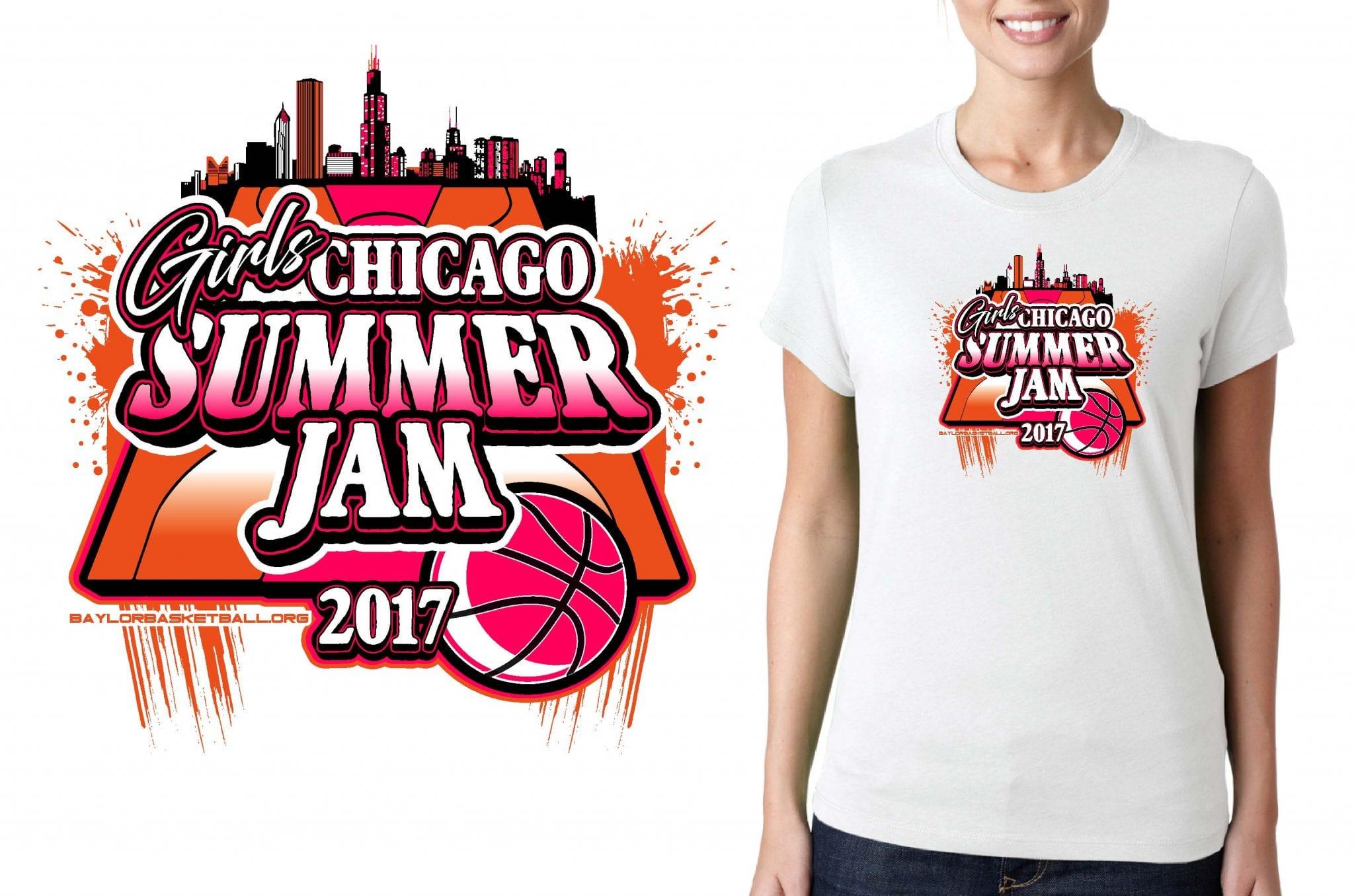BASKETBALL TSHIRT LOGO DESIGN Girls-Chicago-Summer-Jam BY UrArtStudio