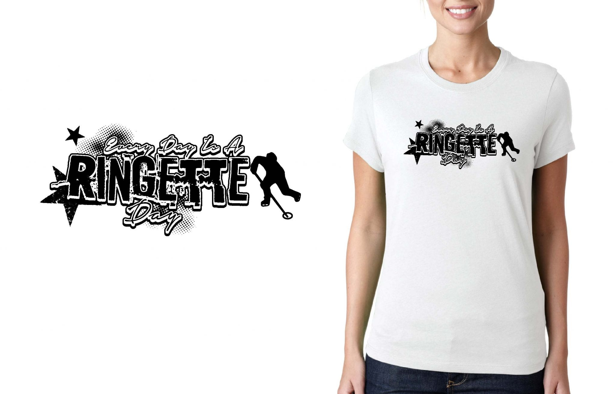 RINGETTE CHAMPIONS LOGO for T-SHIRT UrArtStudio